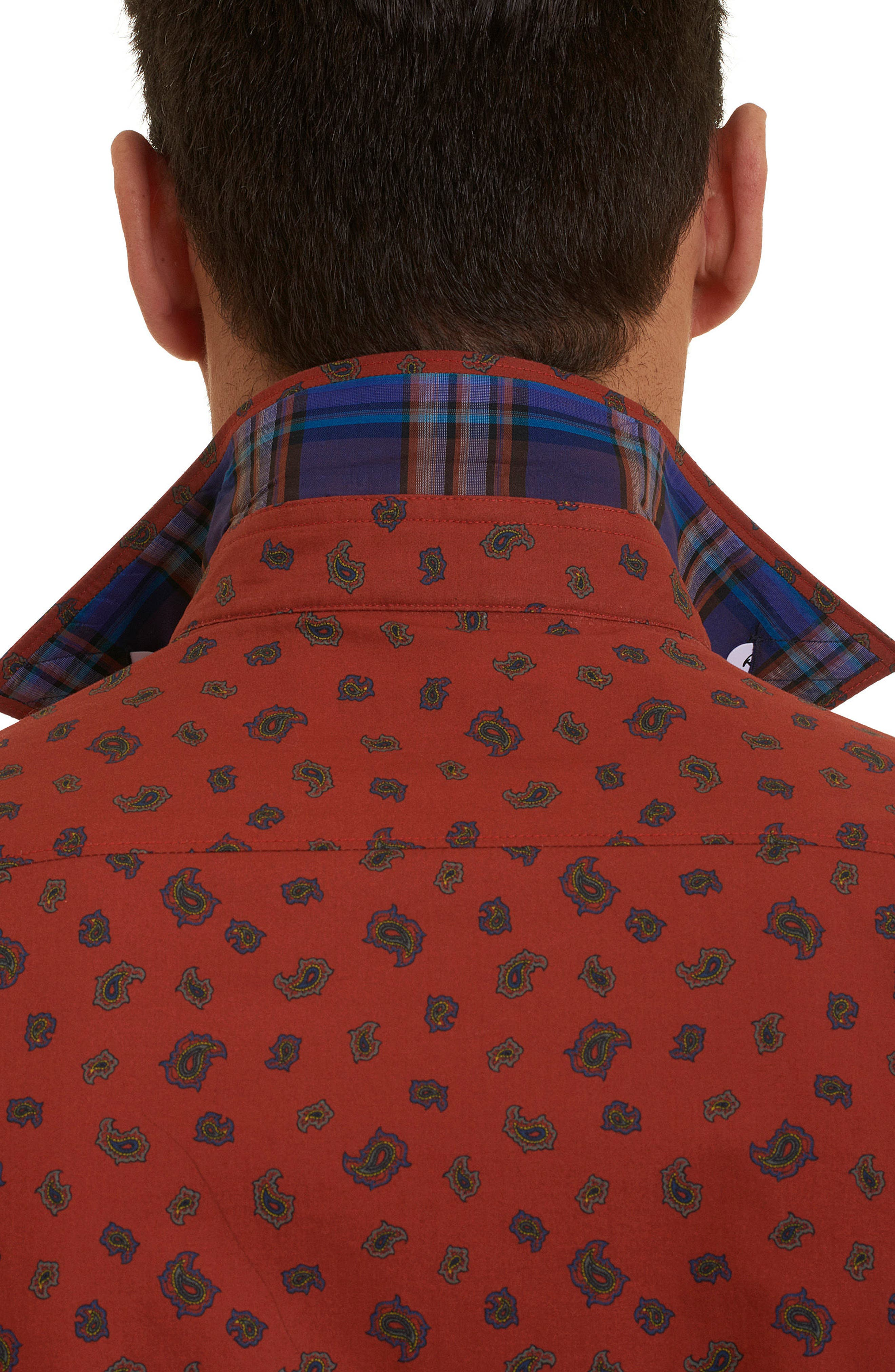 Cold Spring Classic Fit Paisley Sport Shirt,                             Alternate thumbnail 3, color,                             Red