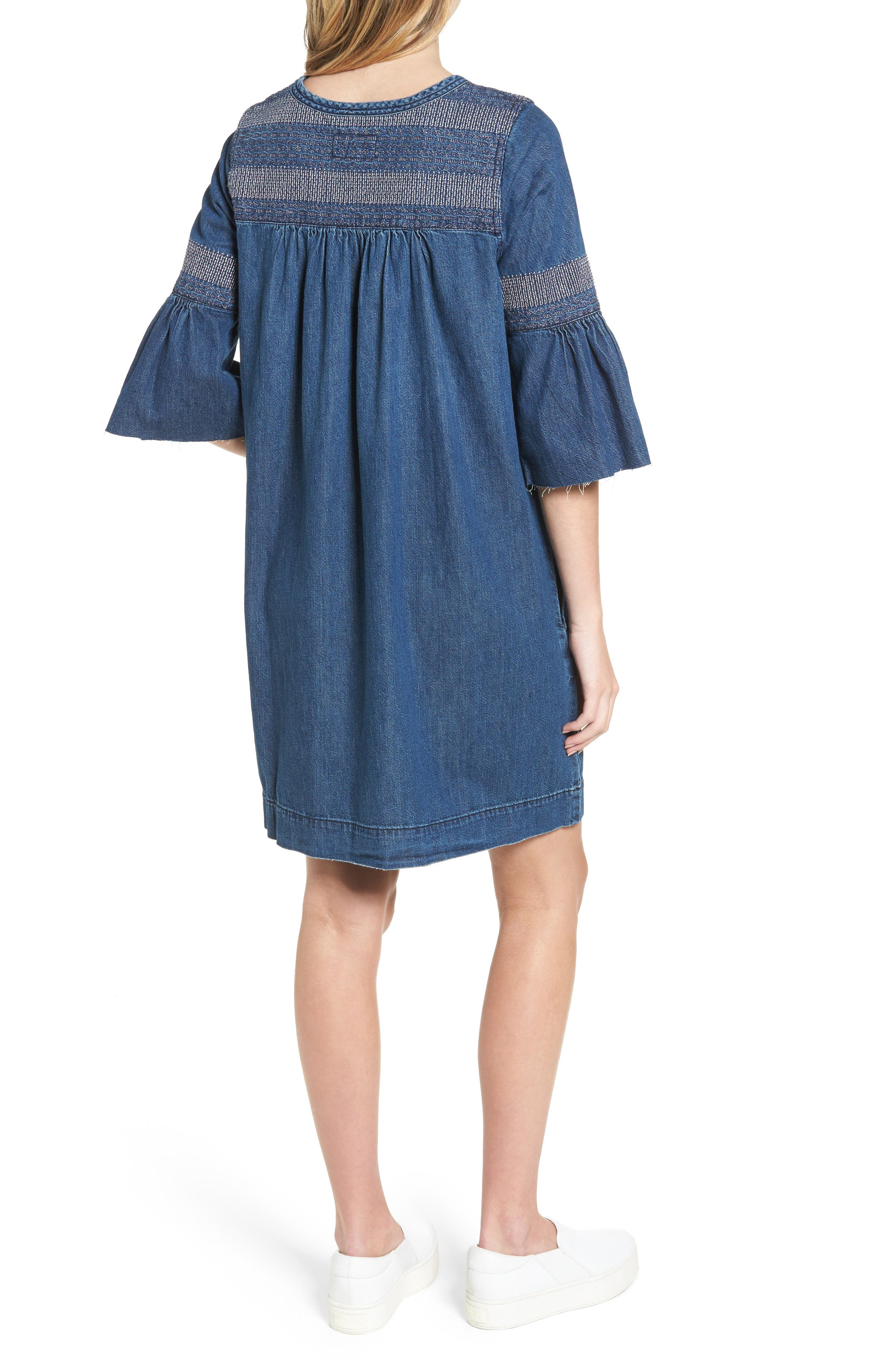 The Abigail Embroidered Dress,                             Alternate thumbnail 2, color,                             Midnight Coast/ White