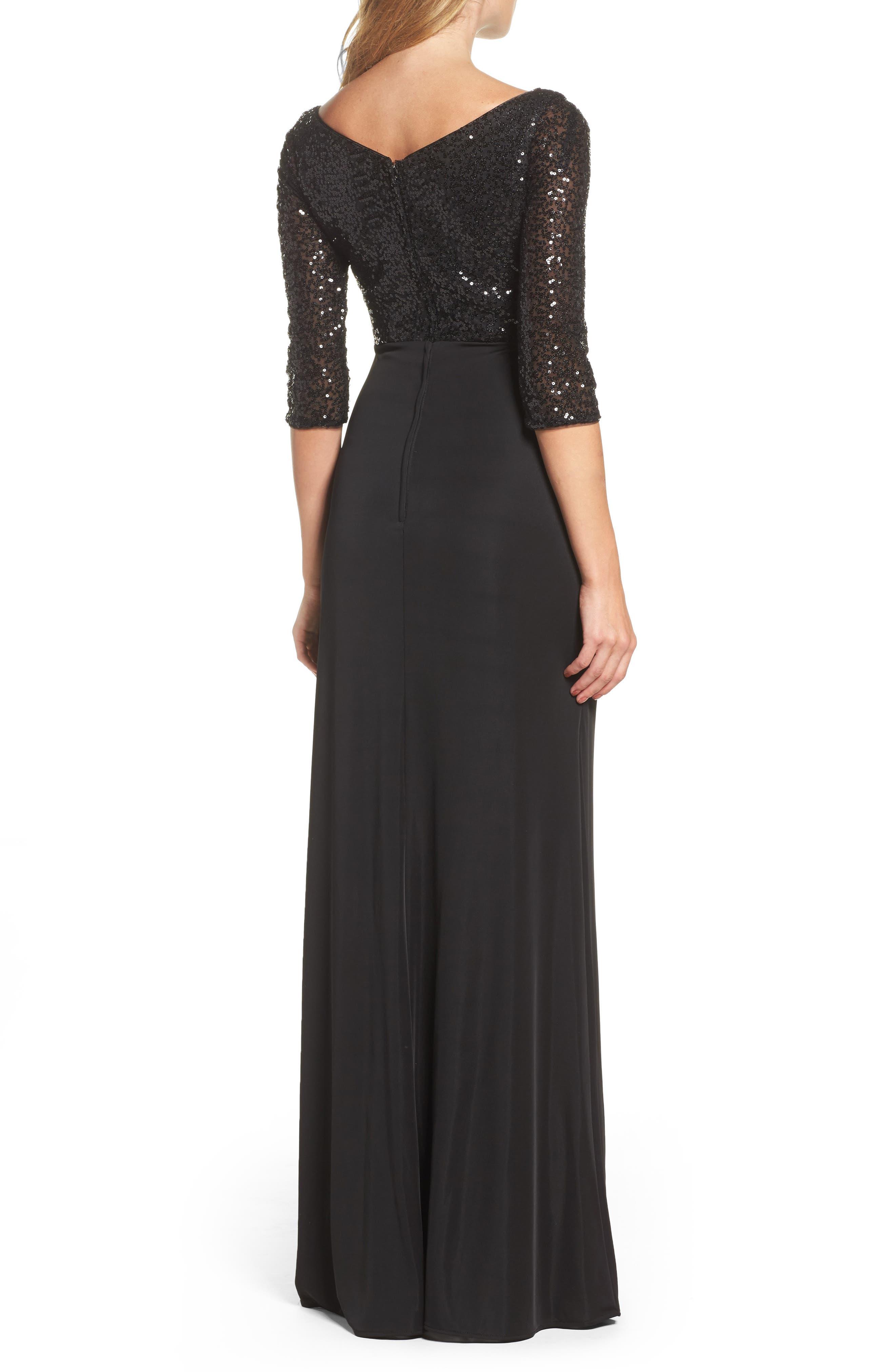 Sequin & Jersey Gown,                             Alternate thumbnail 2, color,                             Black