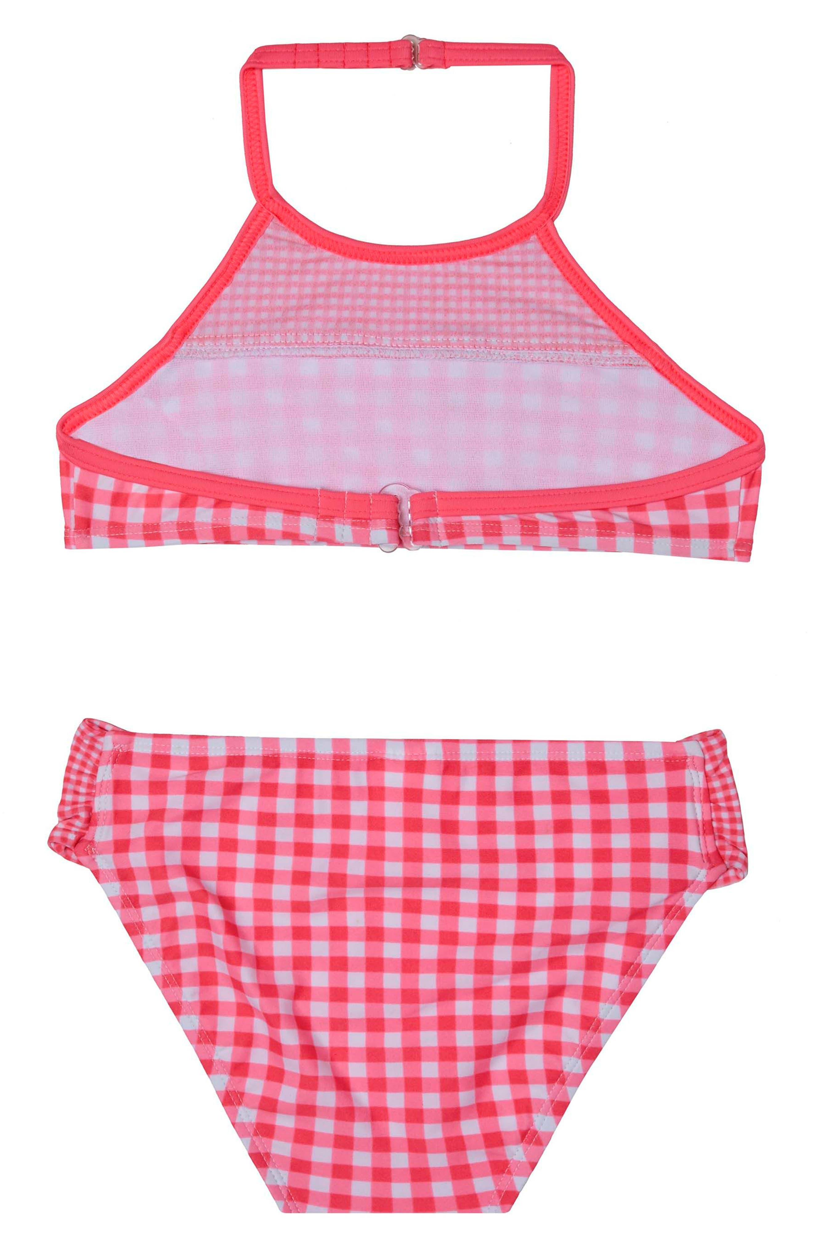 Picnic Gingham Two-Piece Swimsuit,                             Alternate thumbnail 2, color,                             Red