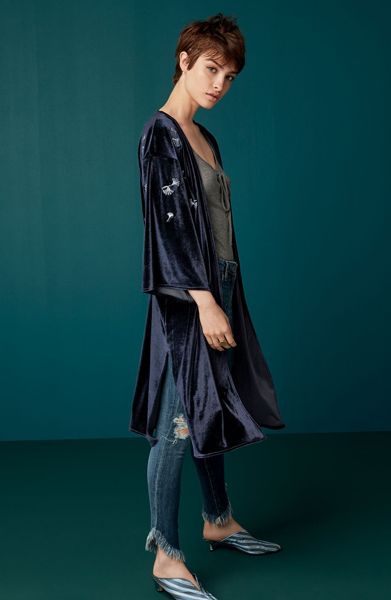 Alternate Image 7  - Treasure & Bond Embroidered Velvet Kimono