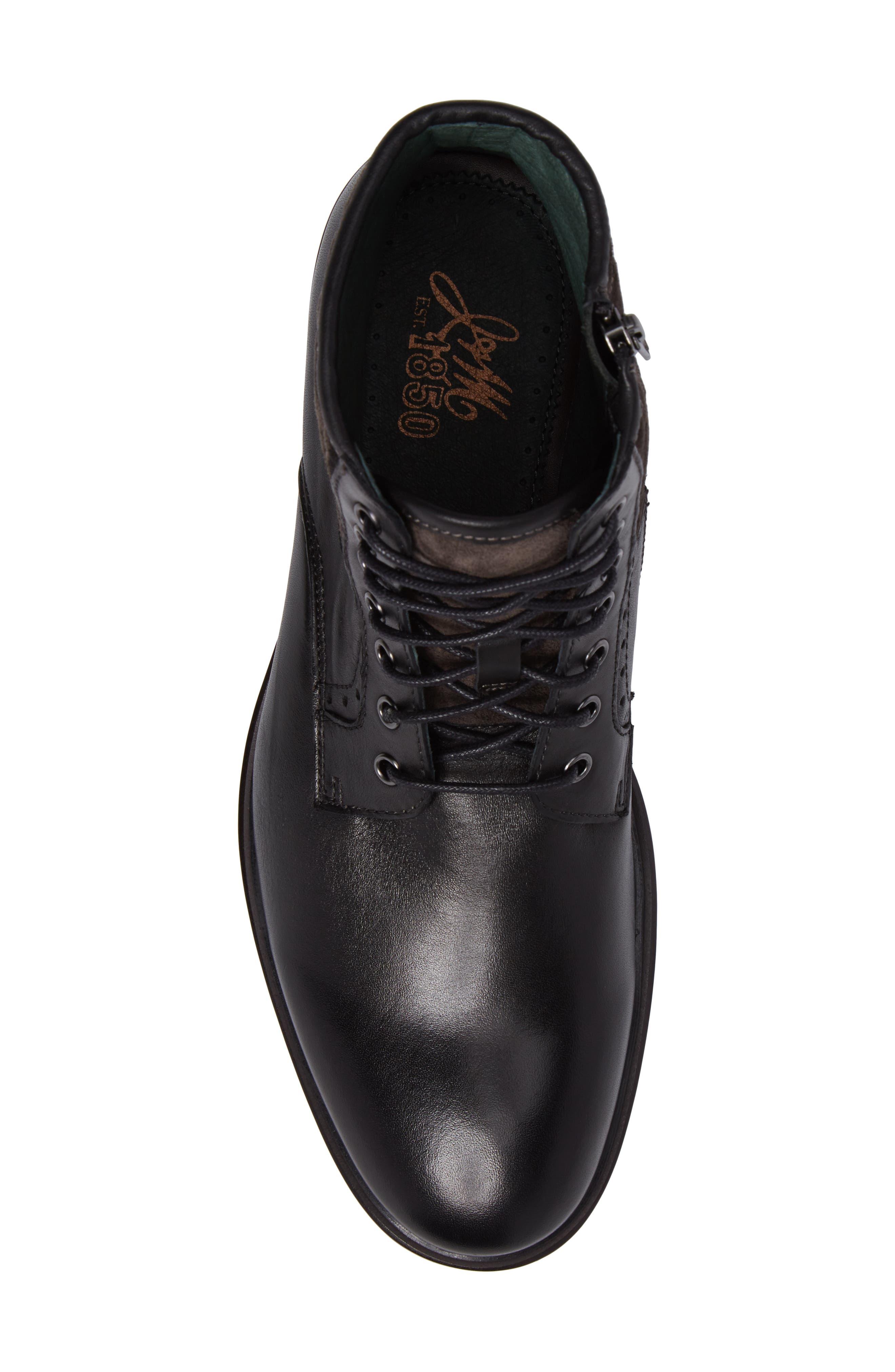 Myles Plain Toe Boot,                             Alternate thumbnail 5, color,                             Black Leather