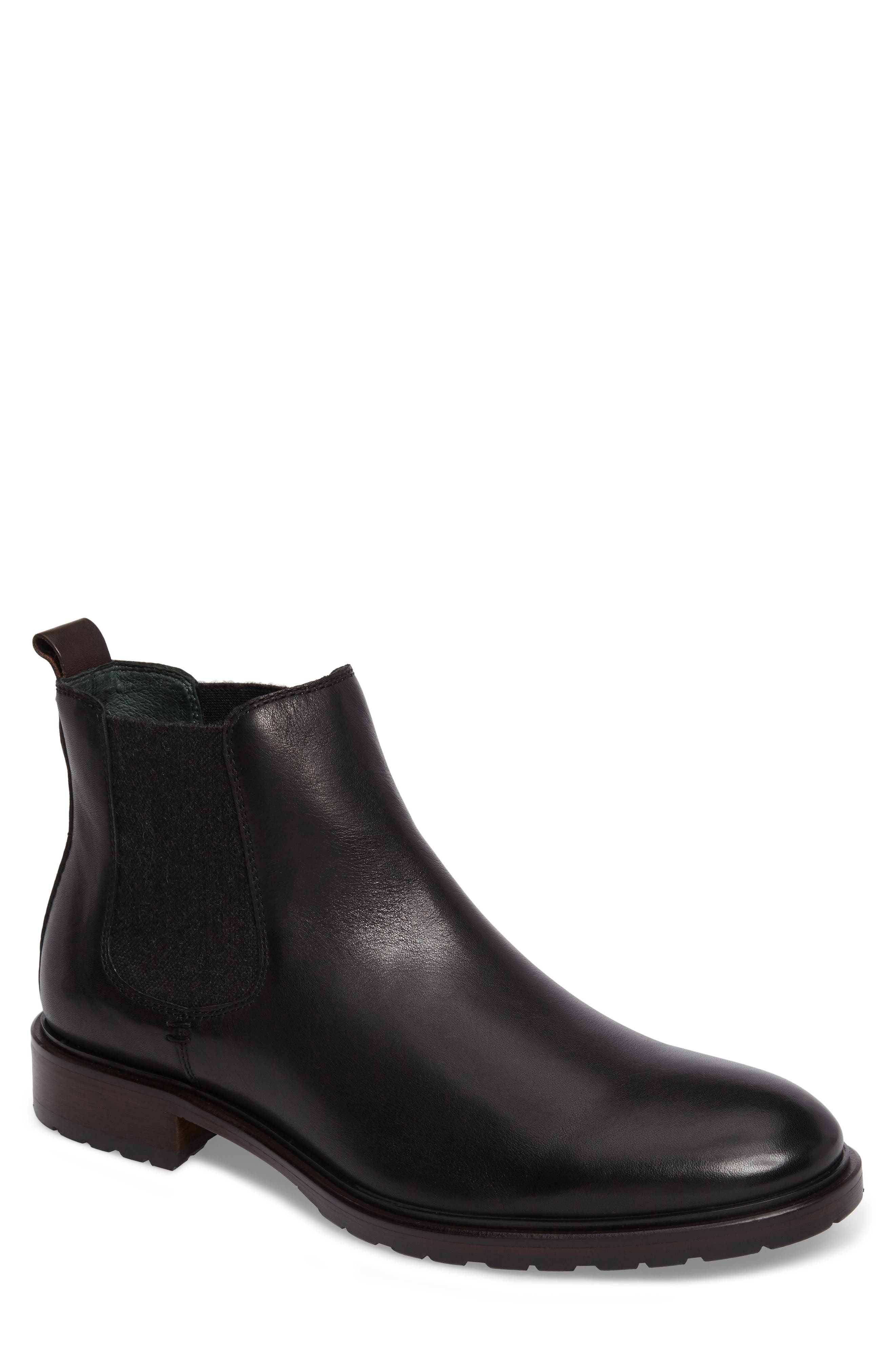 Myles Chelsea Boot,                             Main thumbnail 1, color,                             Black Leather