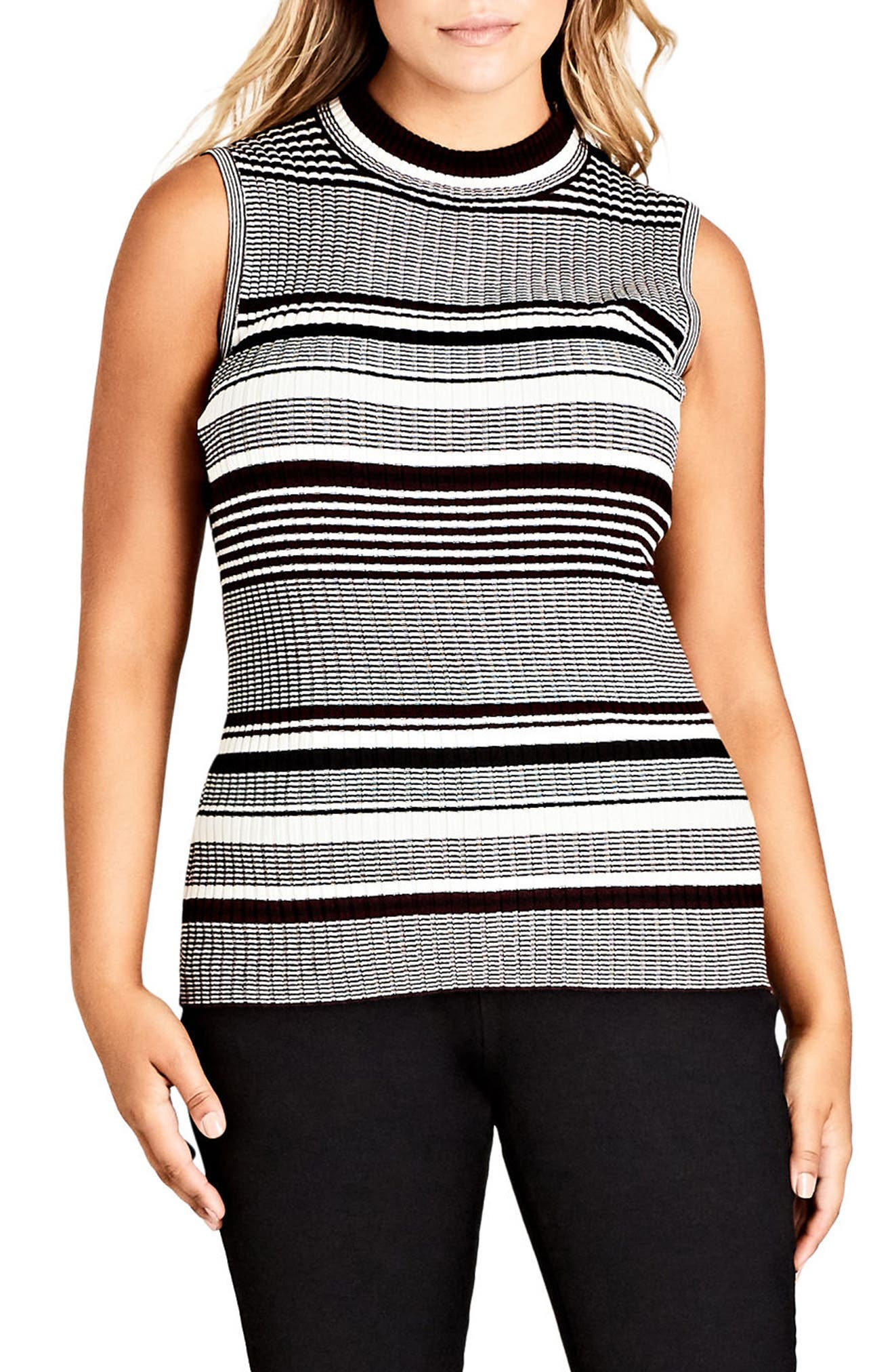Chic City Stripe Play Top,                         Main,                         color, Black