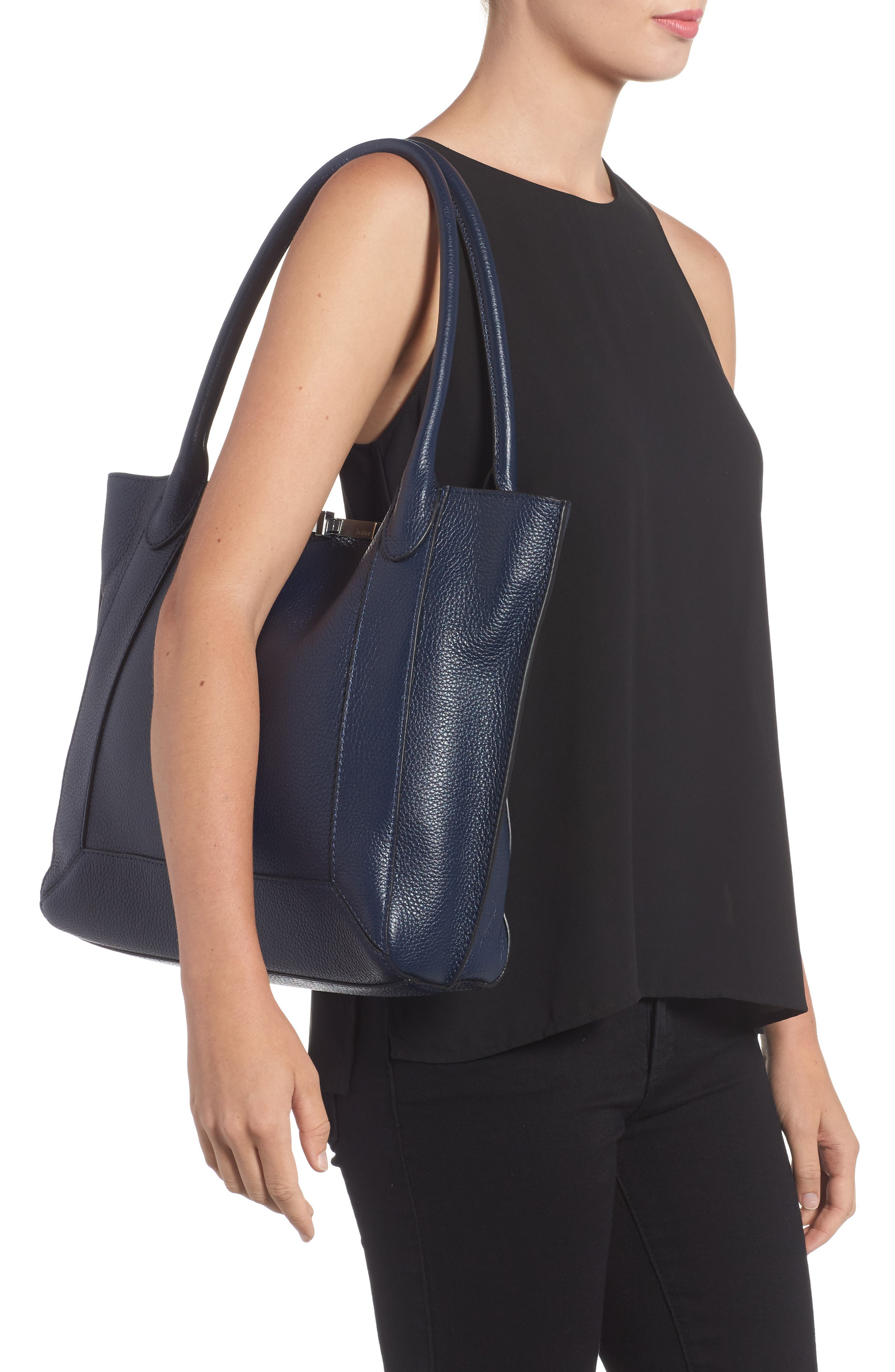 Perry Leather Tote,                             Alternate thumbnail 2, color,                             Sapphire