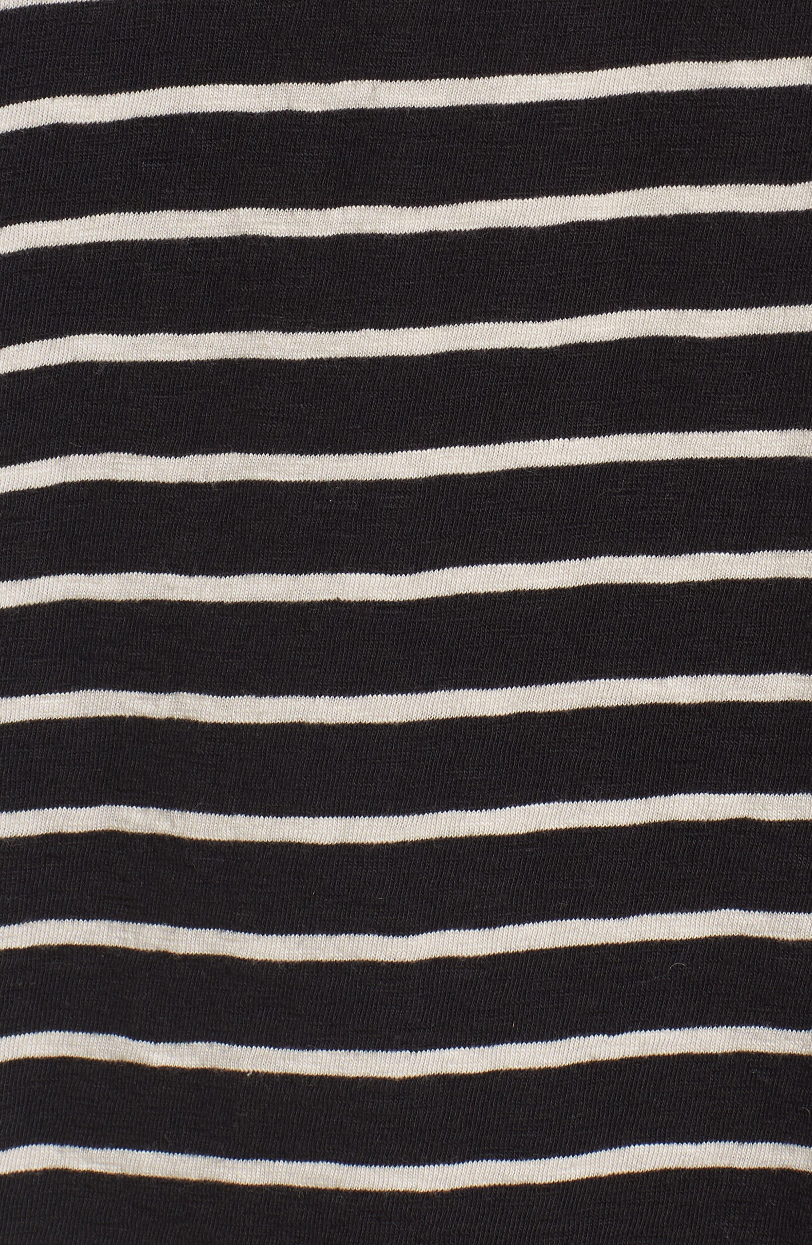 Stripe Longline T-Shirt,                             Alternate thumbnail 5, color,                             Black/ Clay
