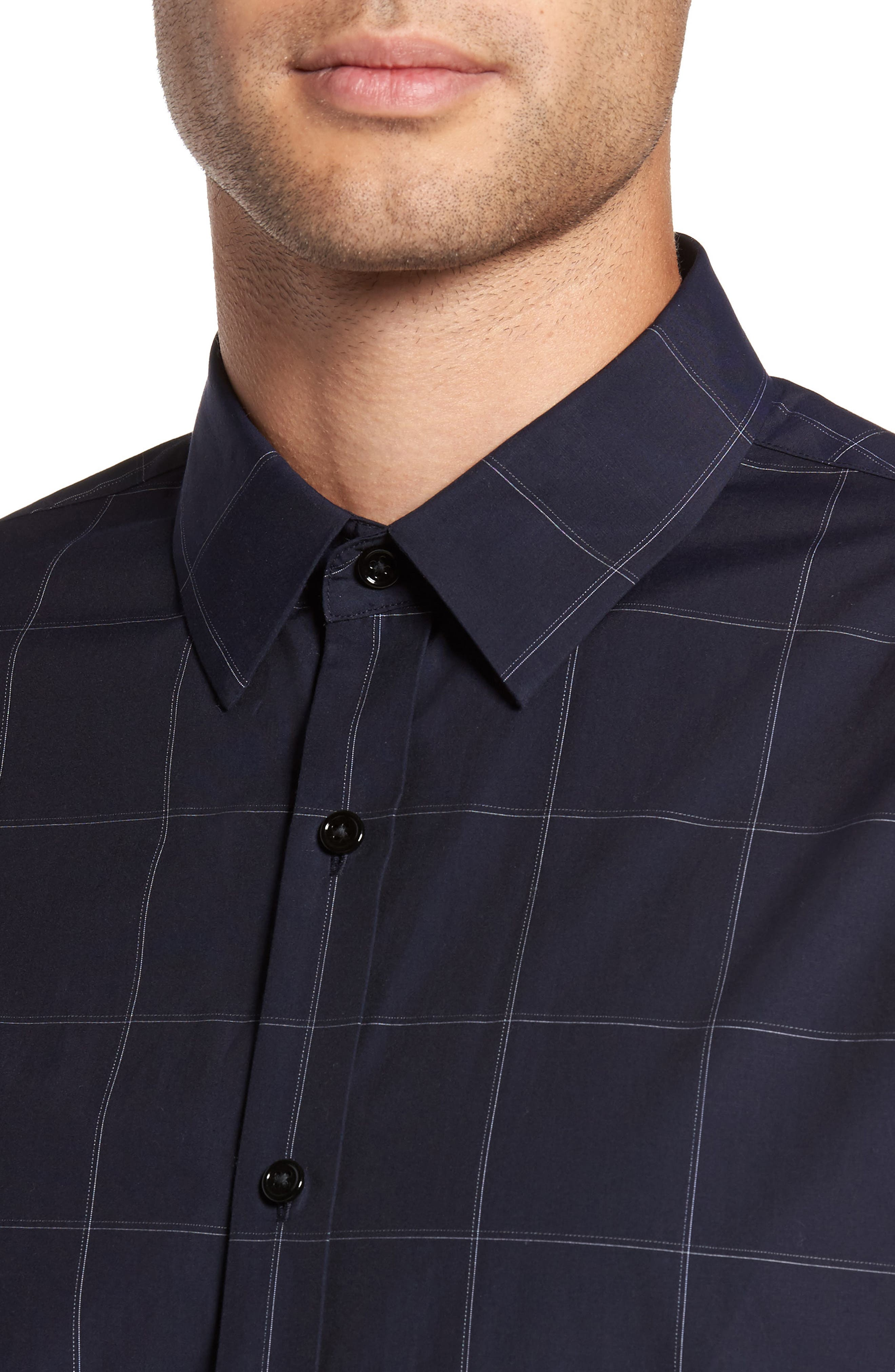Alternate Image 4  - Theory Grid Woven Sport Shirt