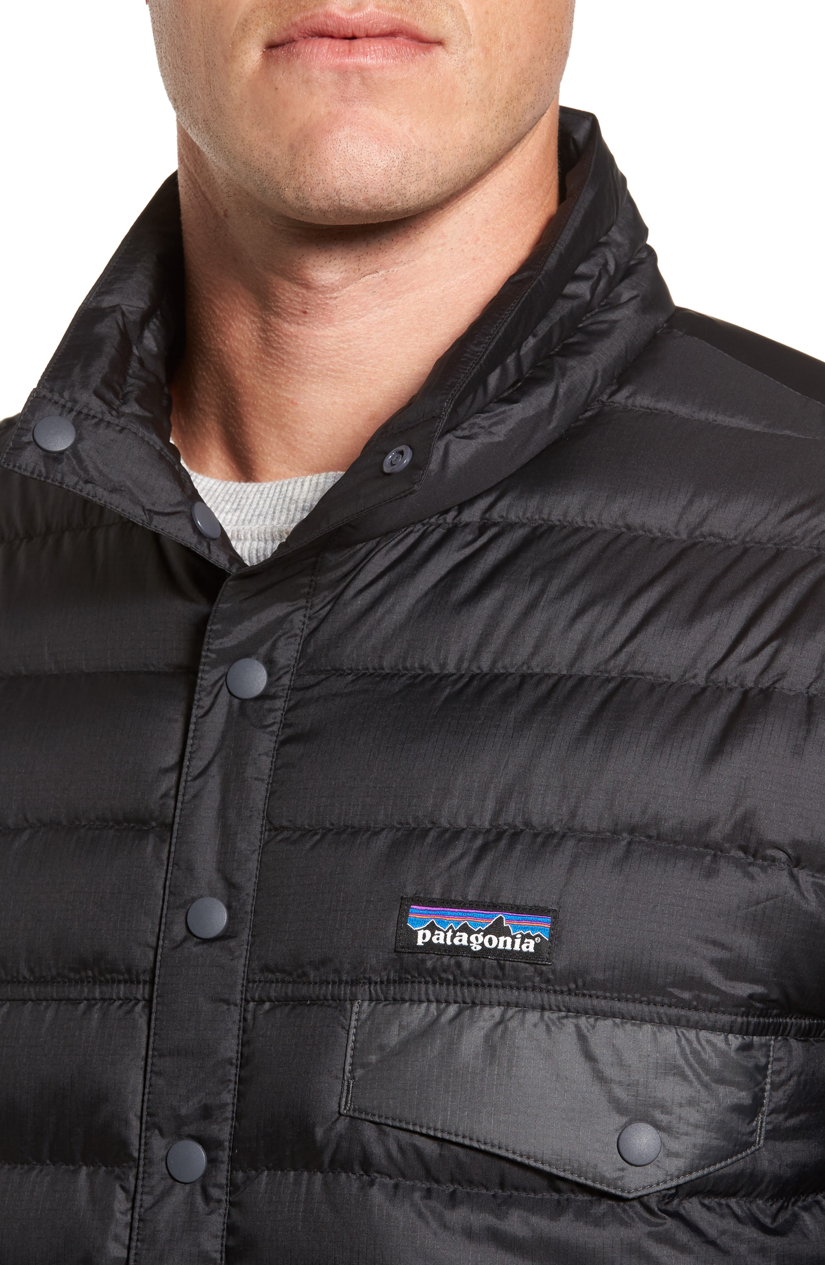 Snap-T<sup>®</sup> Down Pullover,                             Alternate thumbnail 4, color,                             Black