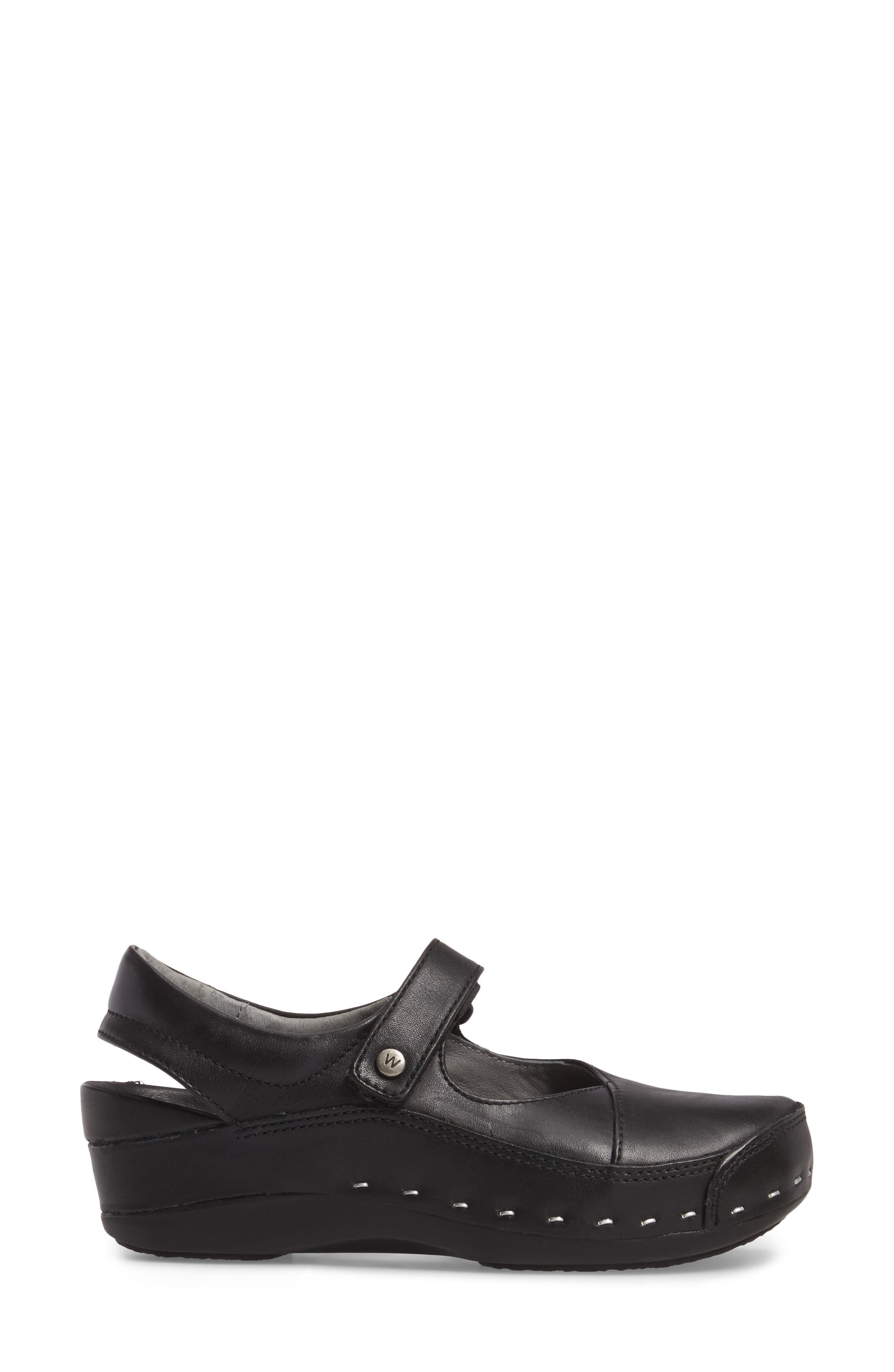 Slingback Clog,                             Alternate thumbnail 3, color,                             Black Mighty Greased Leather