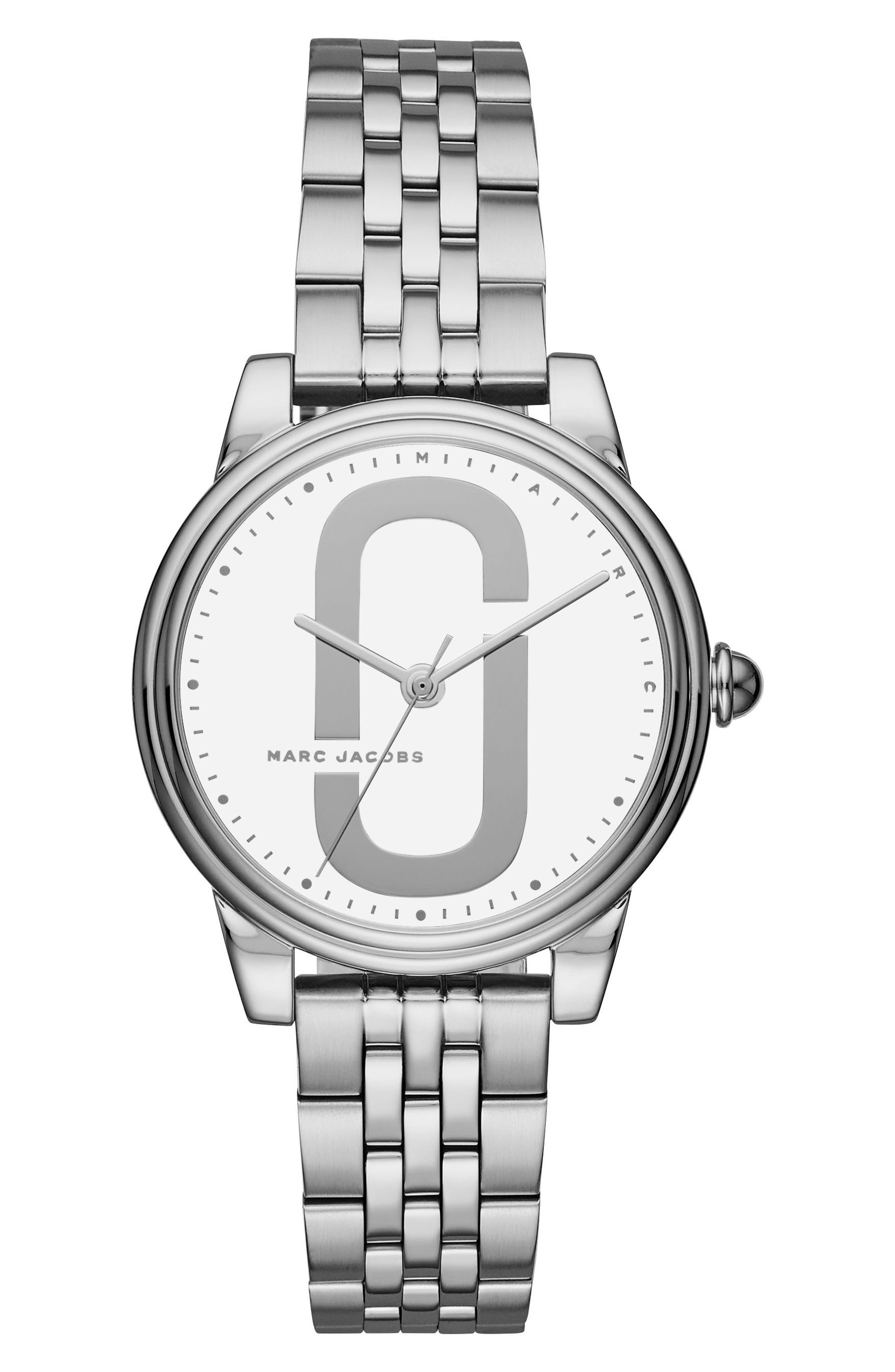 Corie Bracelet Watch, 36mm,                         Main,                         color, Silver/ White/ Silver