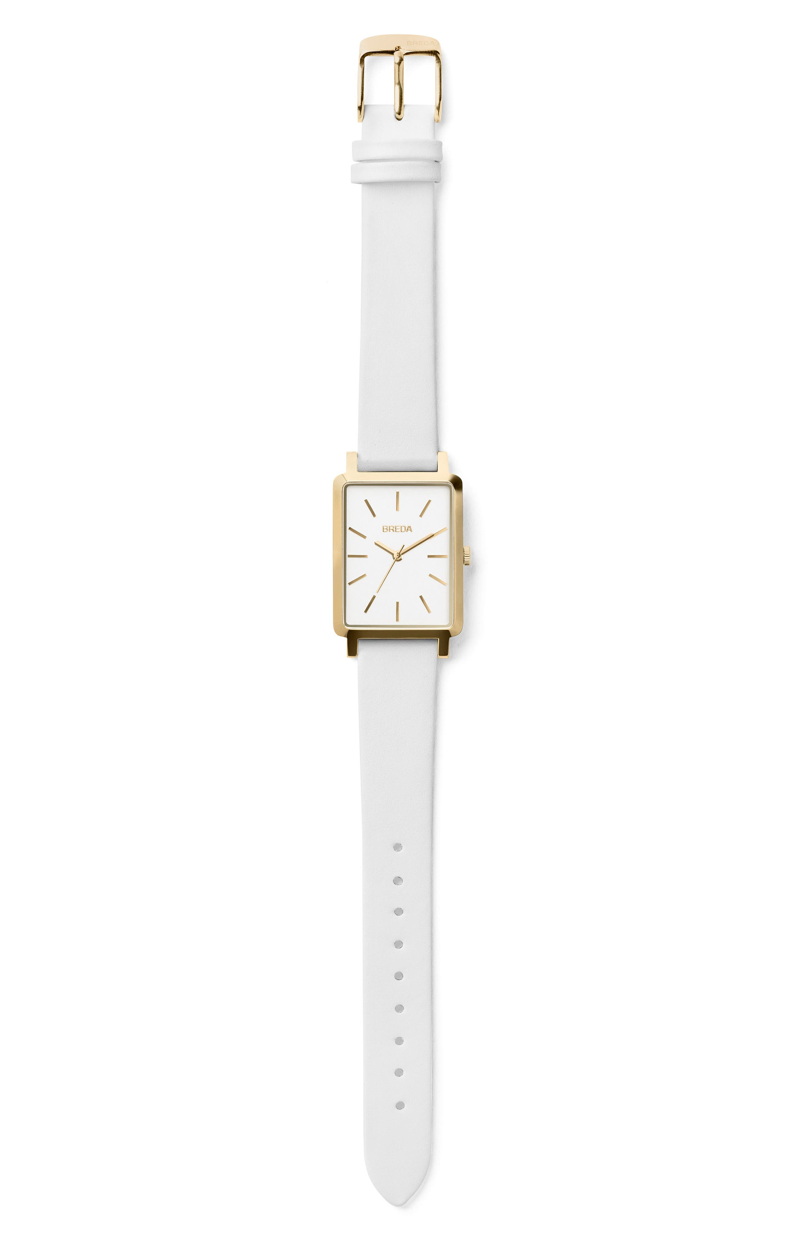 Baer Rectangular Leather Strap Watch, 26mm,                             Alternate thumbnail 2, color,                             White/ Gold