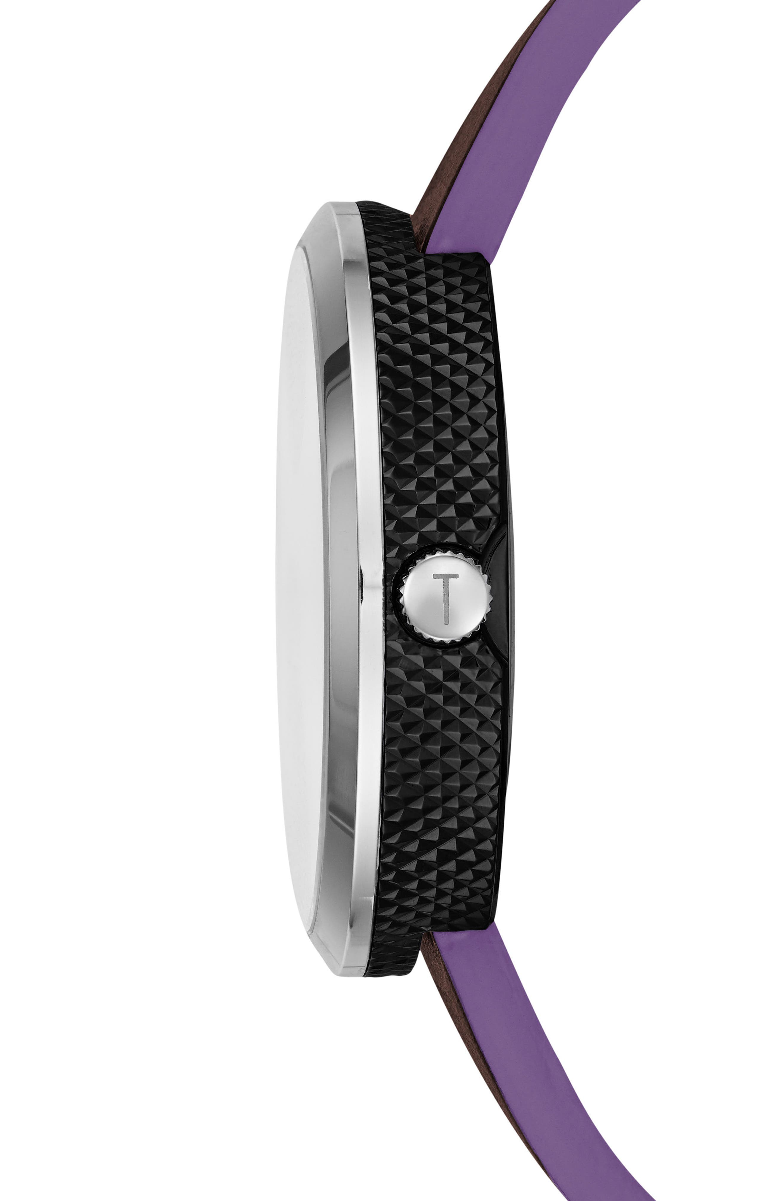 Josh Subeye Leather Strap Watch, 42mm,                             Alternate thumbnail 3, color,                             Grey/ Dark Brown