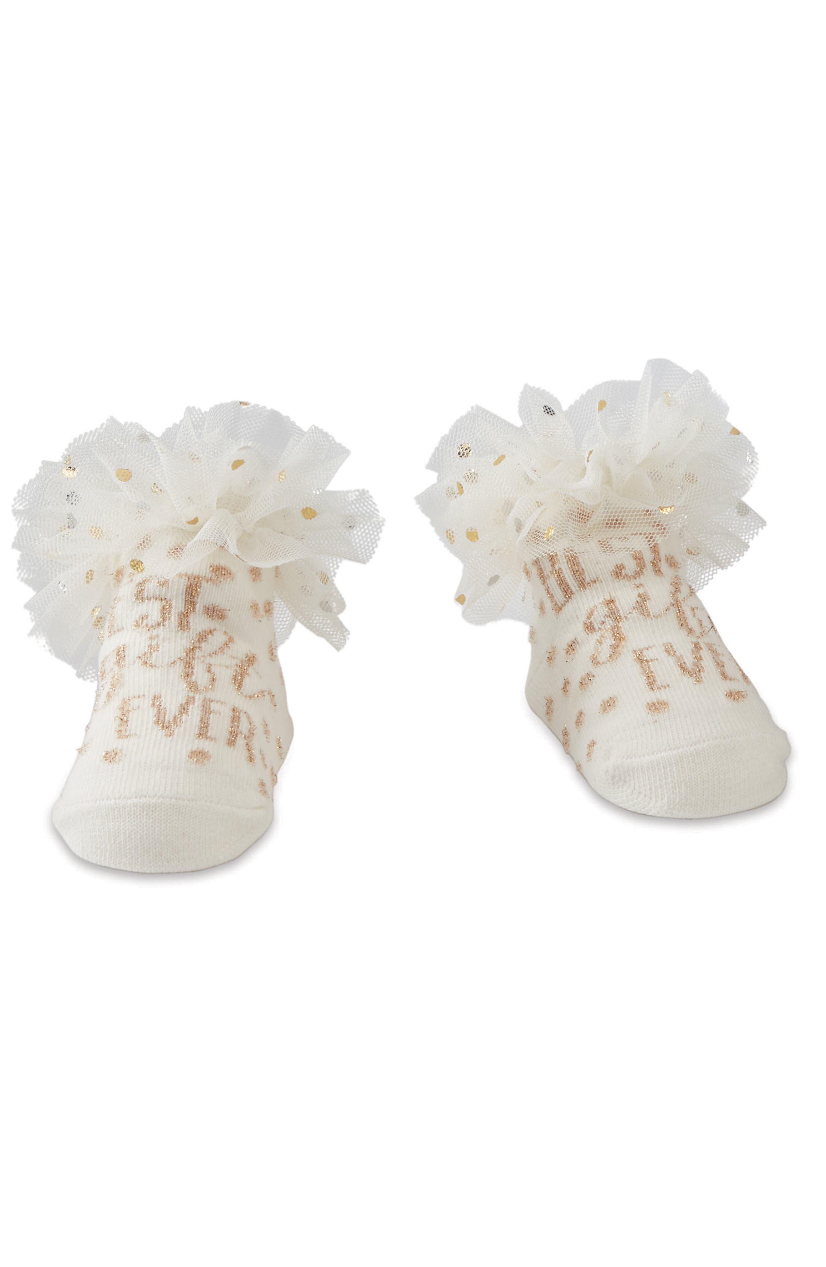 Alternate Image 1 Selected - Mud Pie Best Gift Ever Ruffle Socks (Baby)