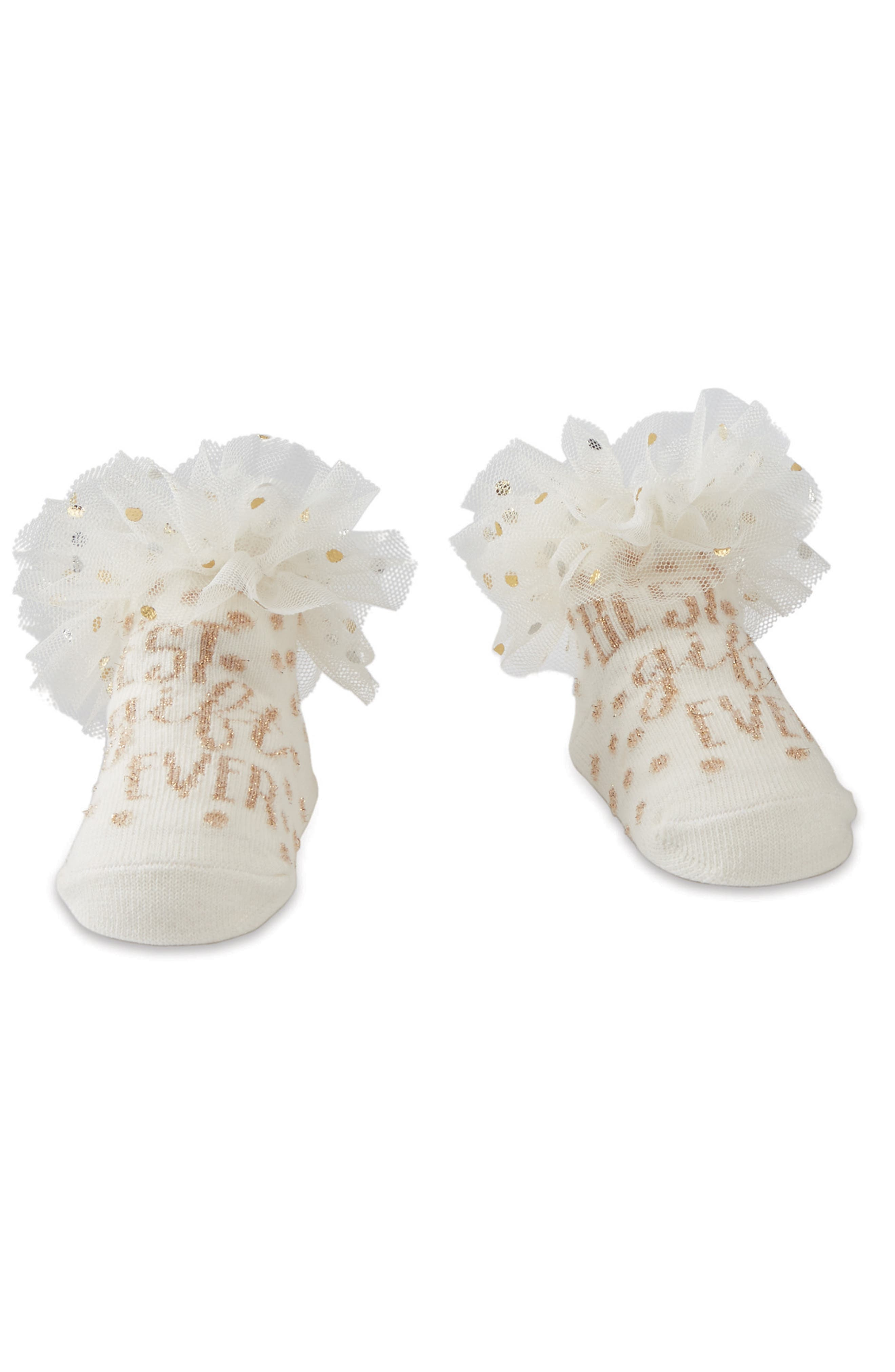 Main Image - Mud Pie Best Gift Ever Ruffle Socks (Baby)