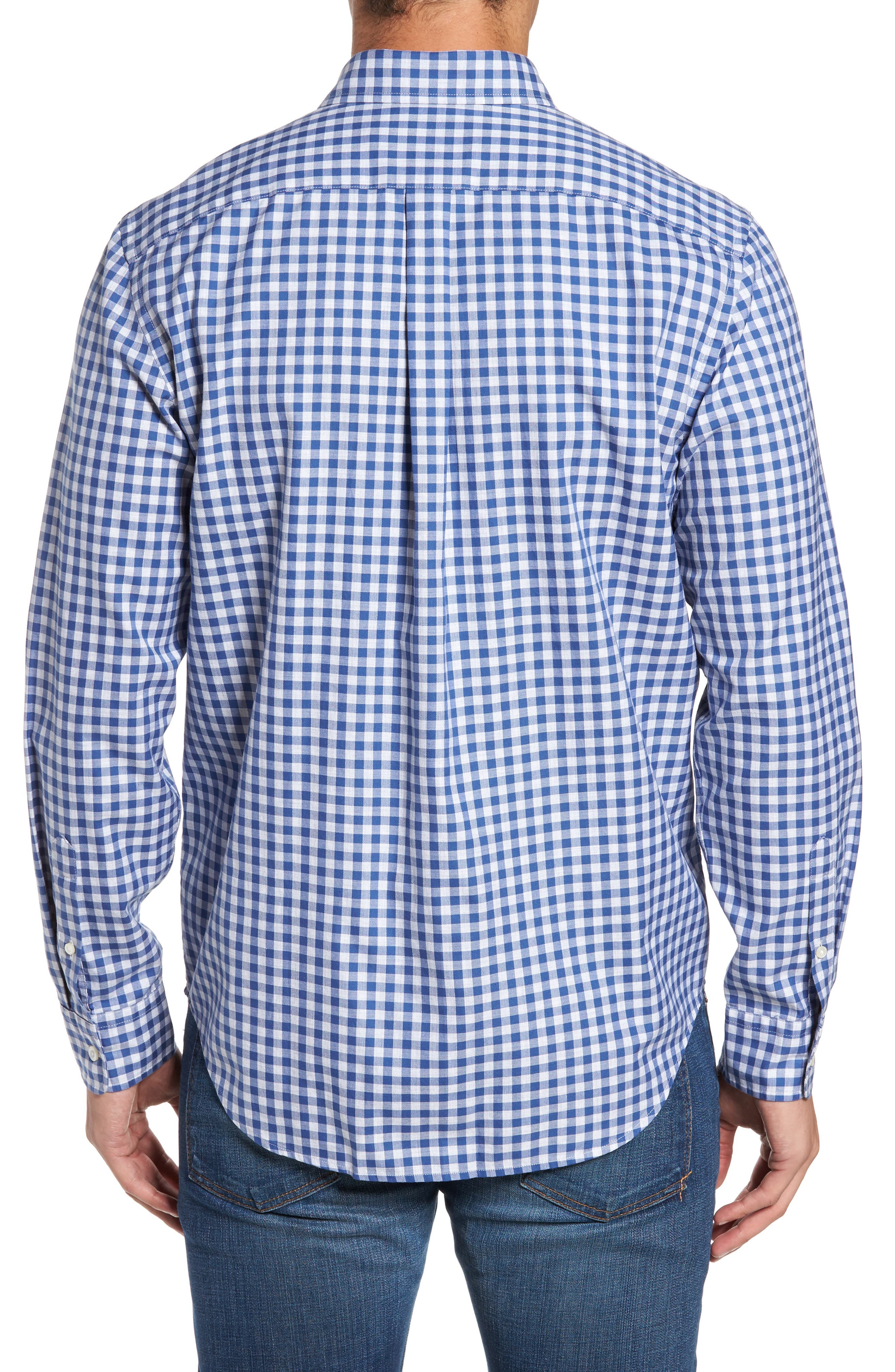 Classic Fit Tucker Cliff Gingham Sport Shirt,                             Alternate thumbnail 2, color,                             Moonshine