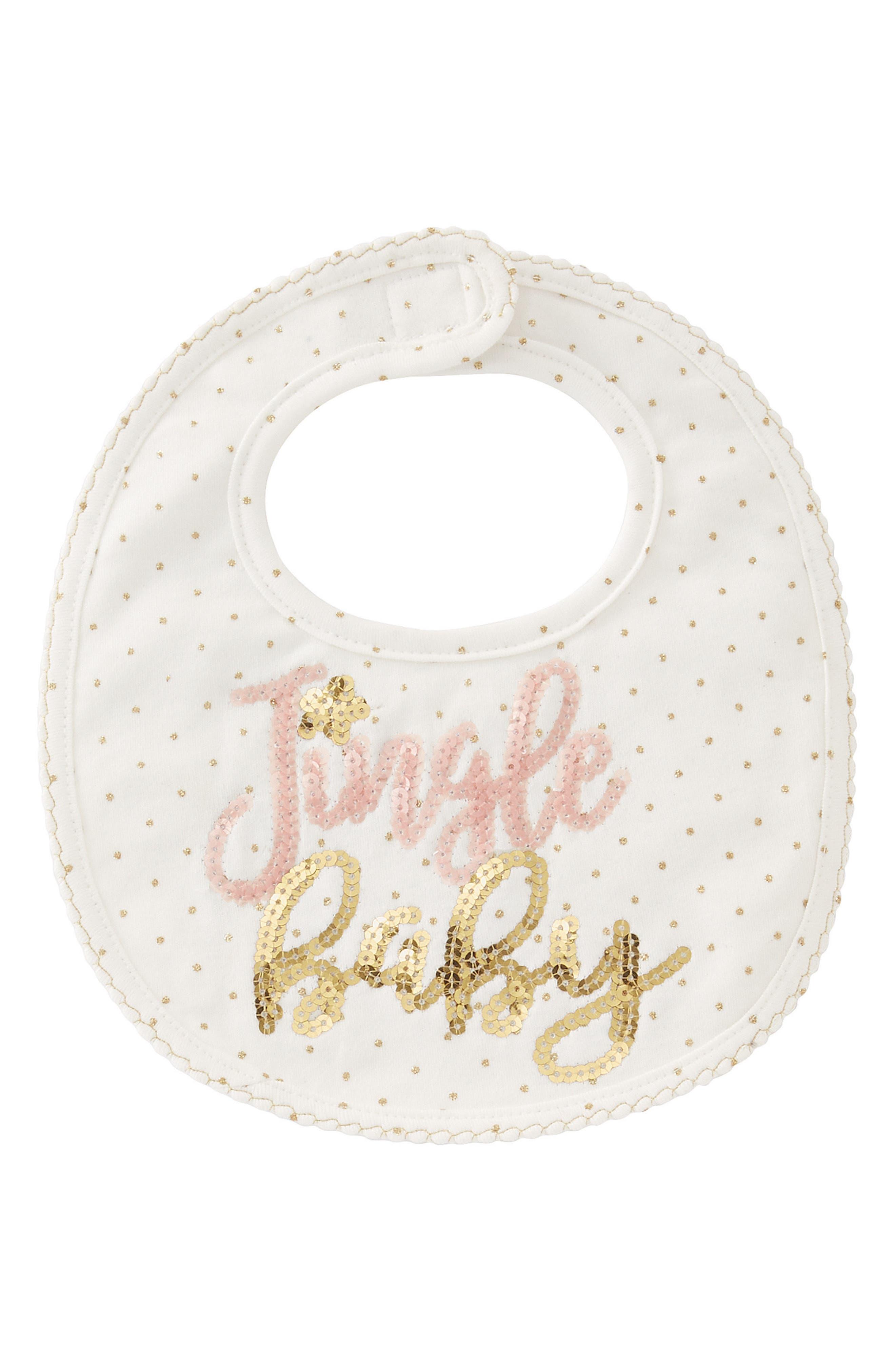 Jingle Baby Bib,                         Main,                         color, White