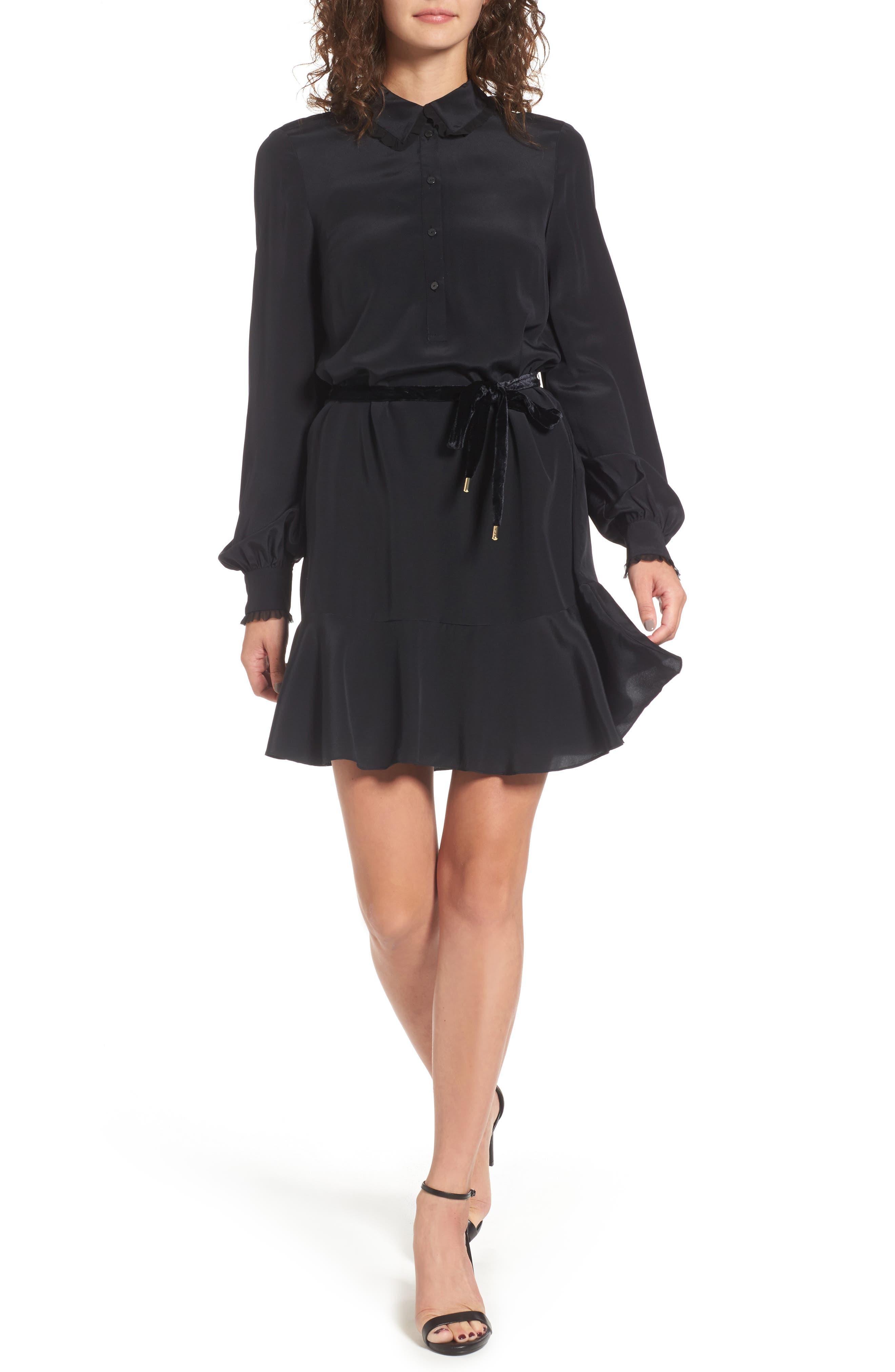 Silk Shirtdress,                         Main,                         color, Pitch Black
