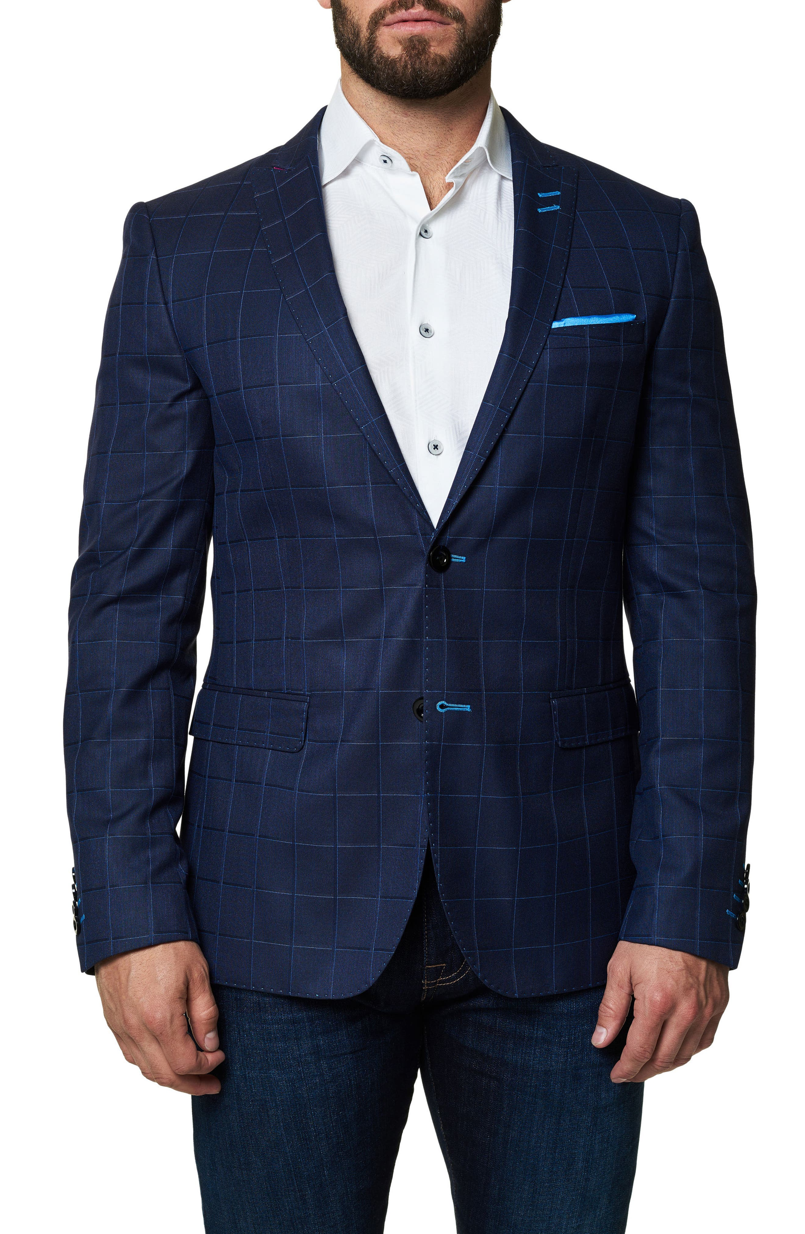 Descarte Windowpane Sport Coat,                         Main,                         color, Medium Blue