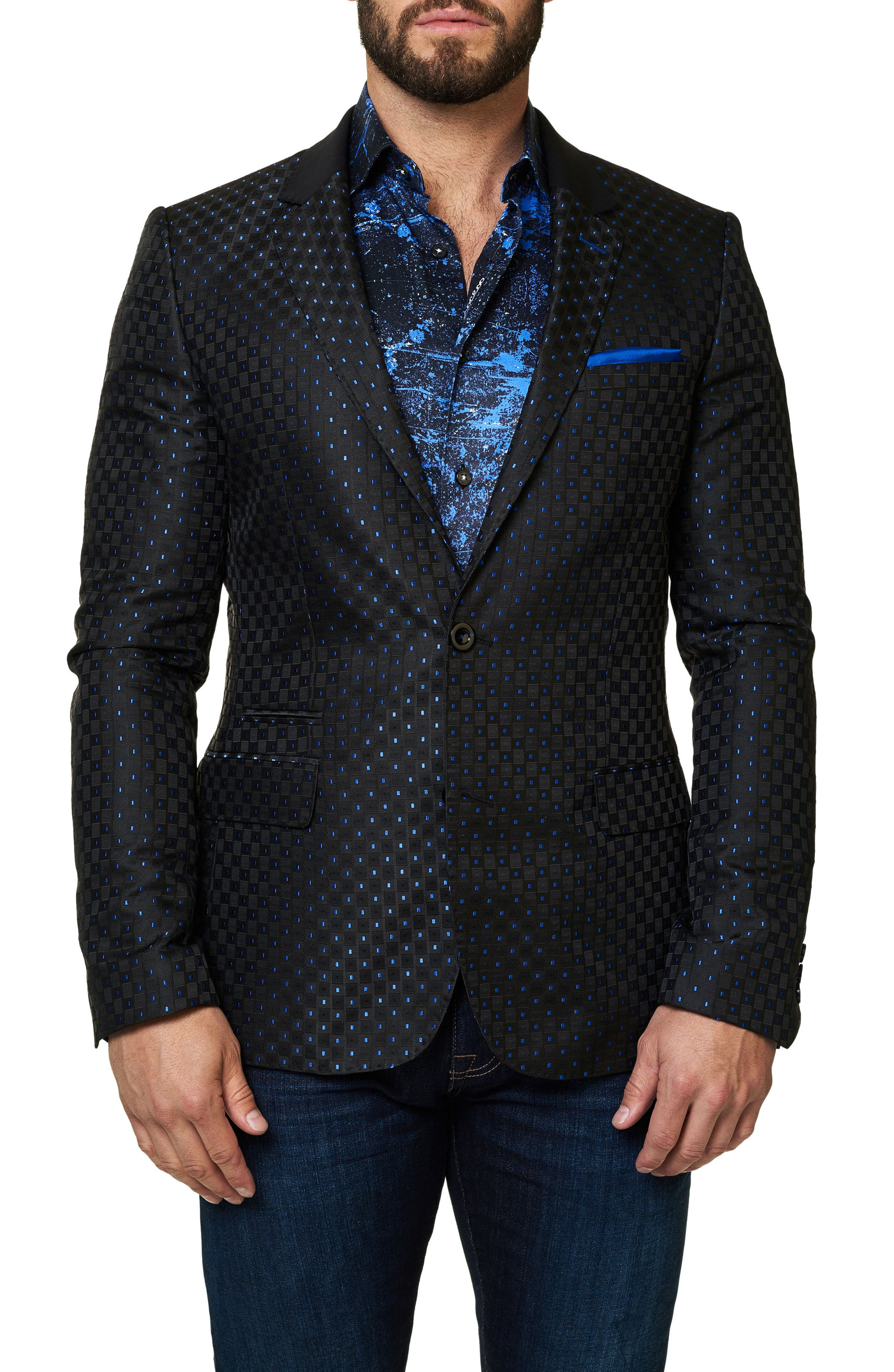 Socrate Dobby Square Sport Coat,                         Main,                         color, Solid Black