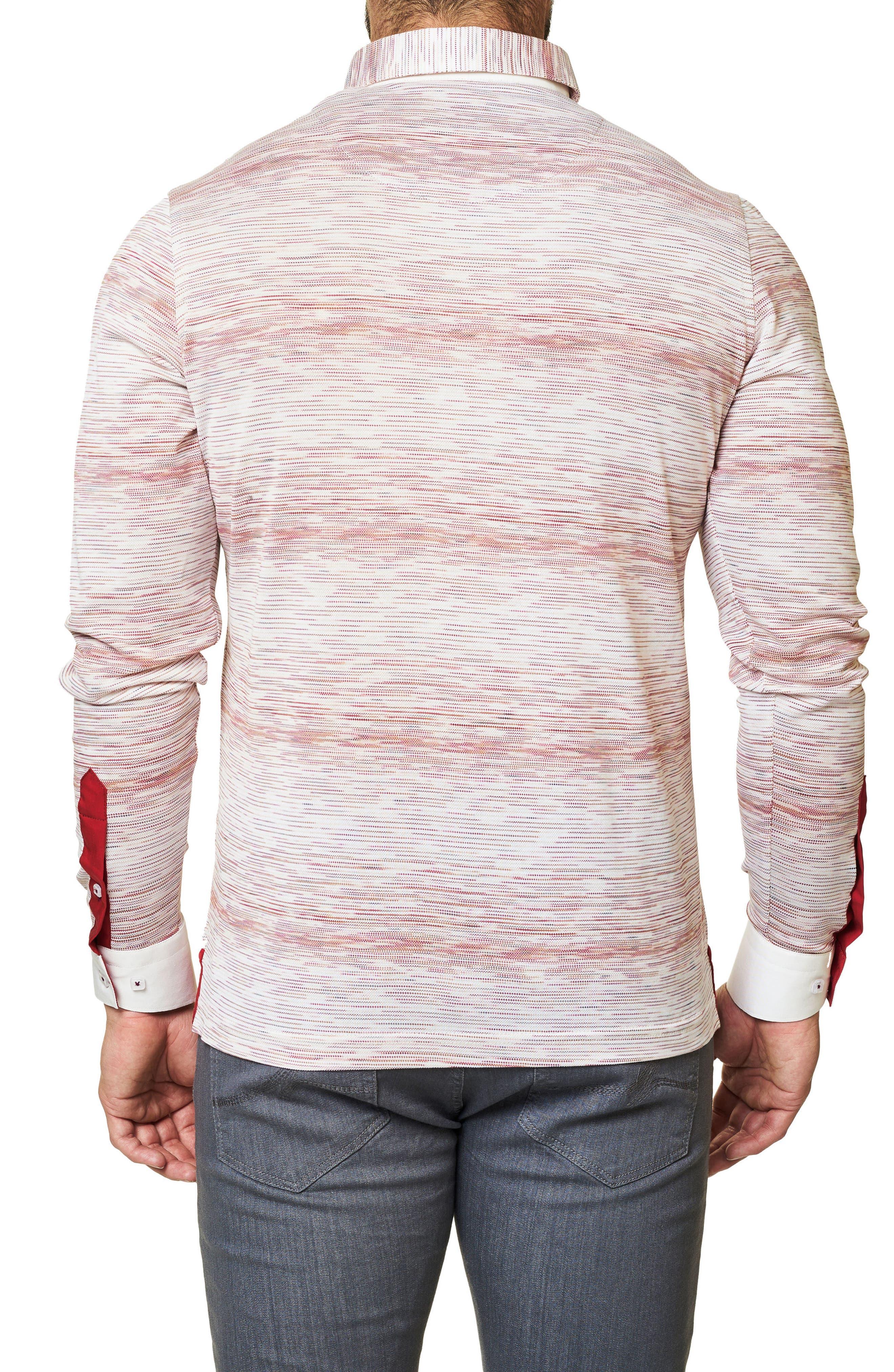 Stripe Long Sleeve Polo,                             Alternate thumbnail 2, color,                             Solid White
