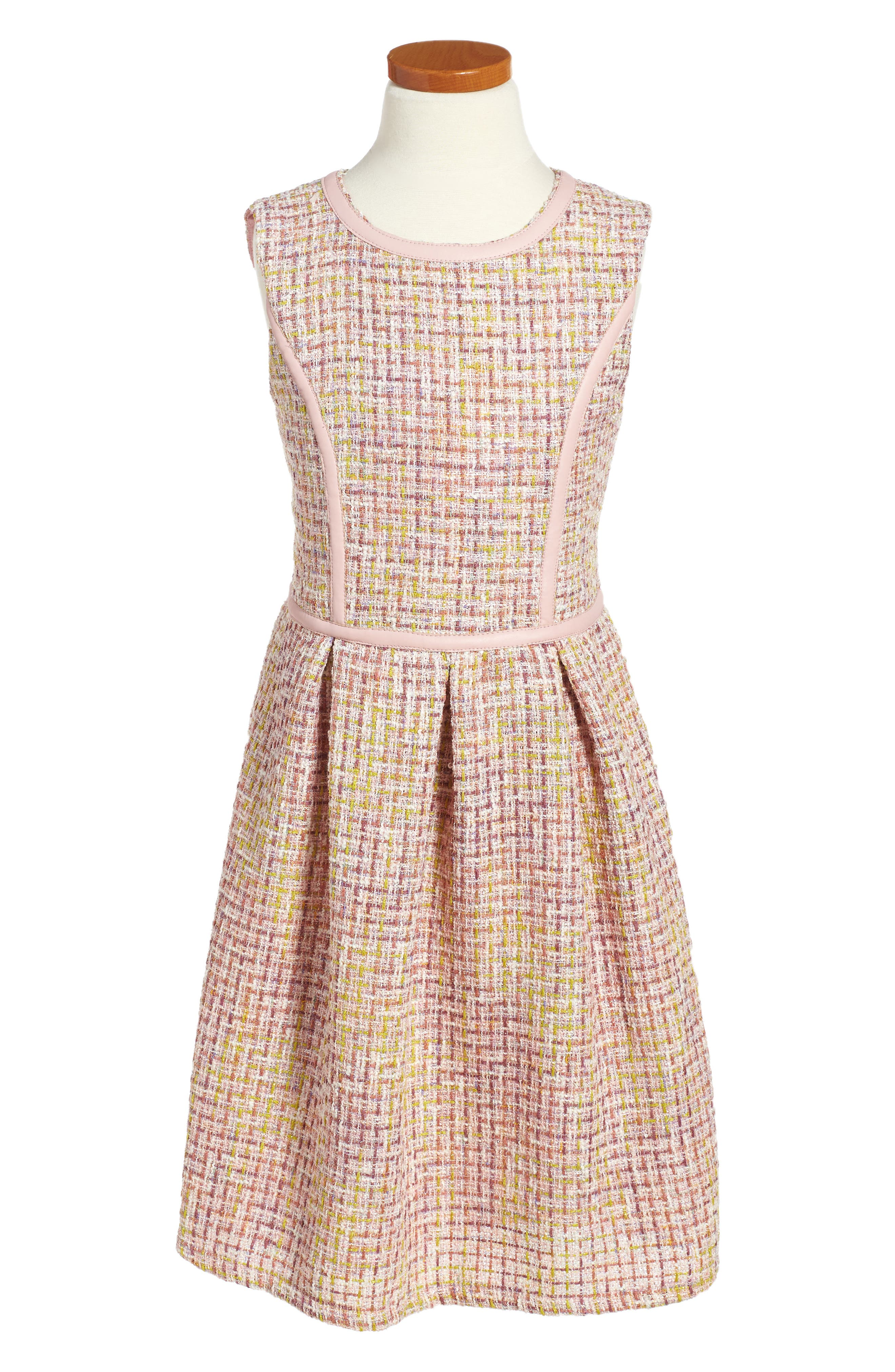 BLUSH BY US ANGELS Tweed Fit & Flare Dress