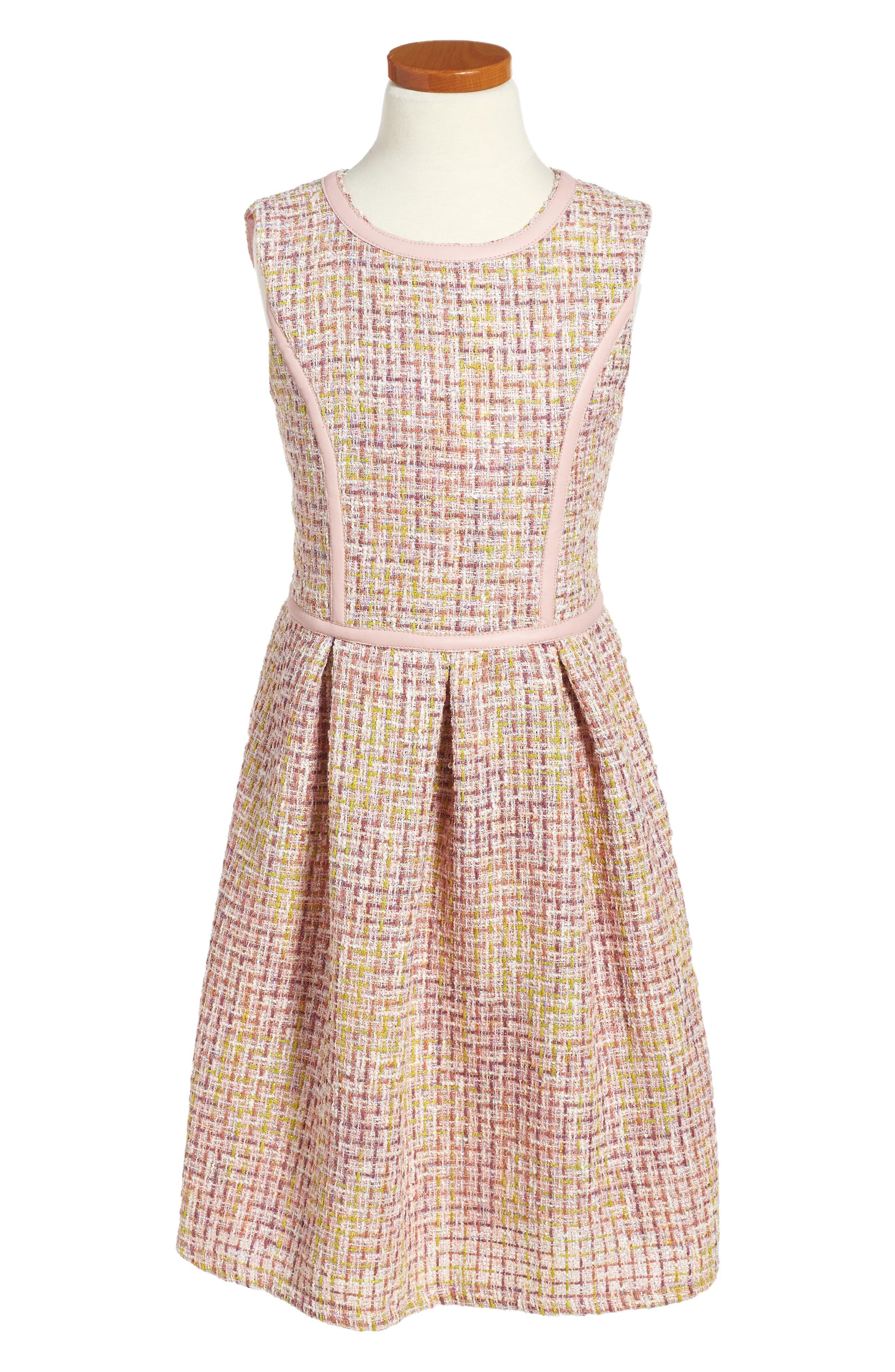 Main Image - Blush by Us Angels Tweed Fit & Flare Dress (Big Girls)