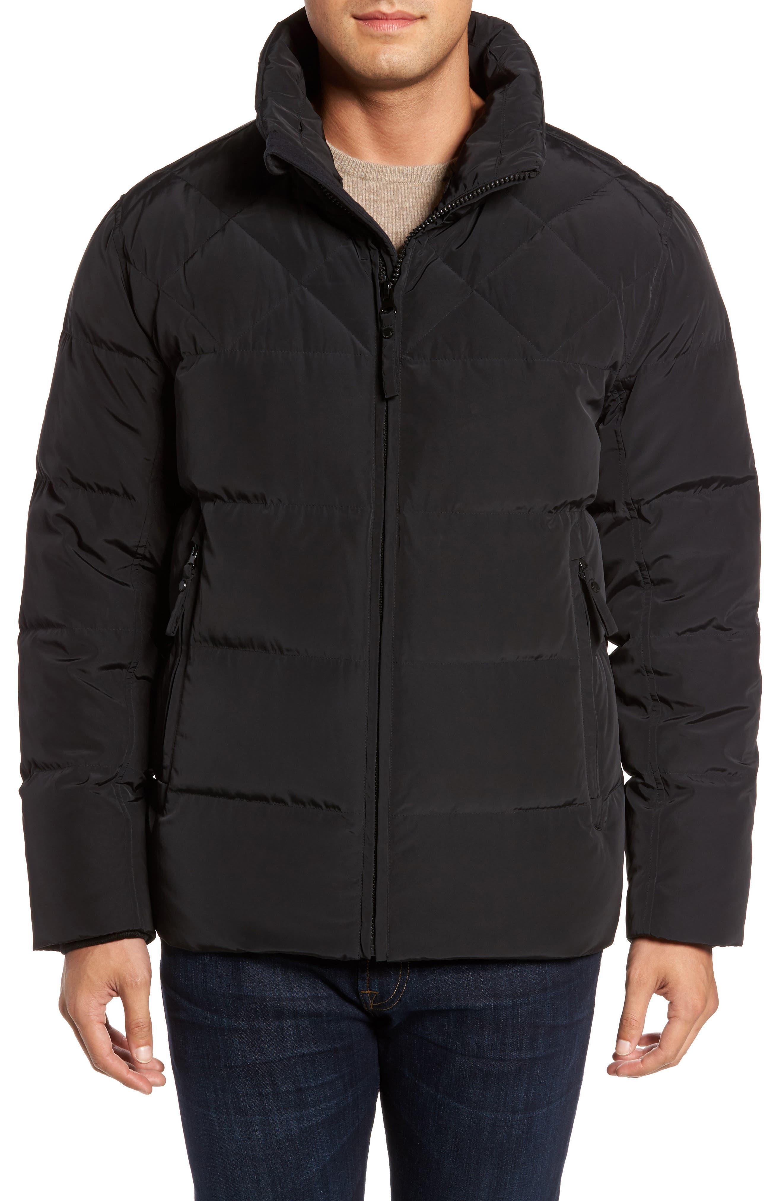 Navan Quilted Down Jacket with Genuine Rabbit Fur Trim,                             Alternate thumbnail 4, color,                             Black