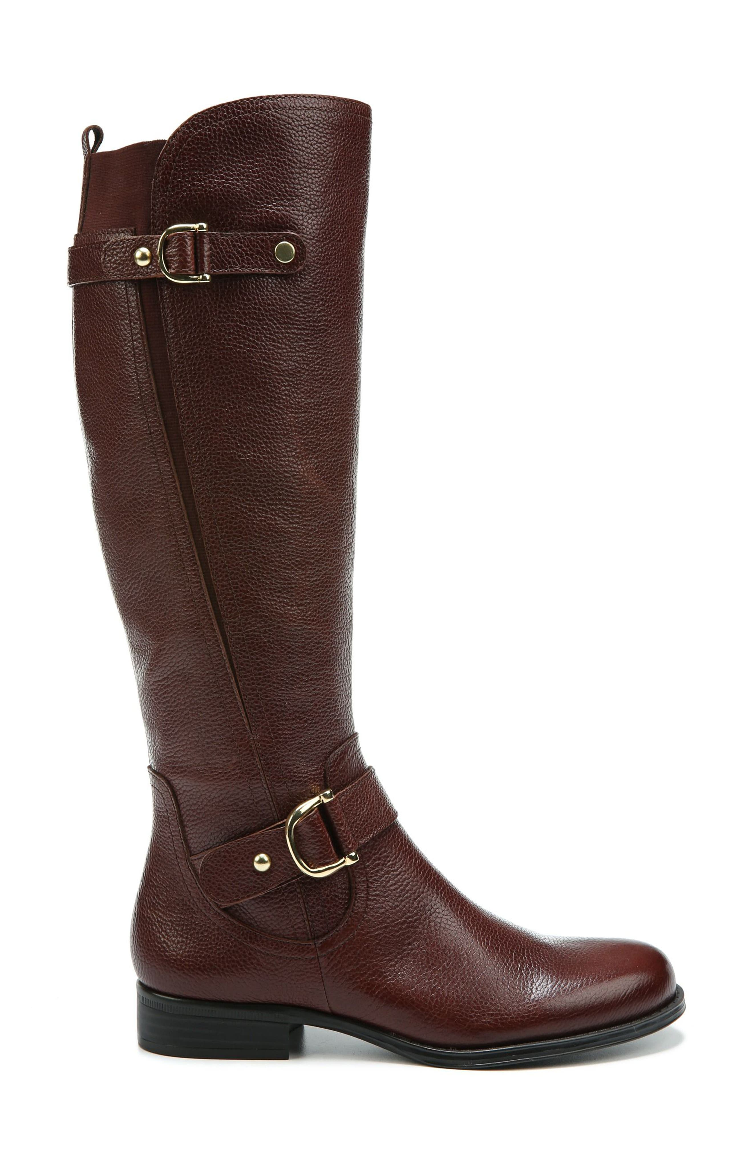 Jenelle Tall Boot,                             Alternate thumbnail 3, color,                             Brown Leather
