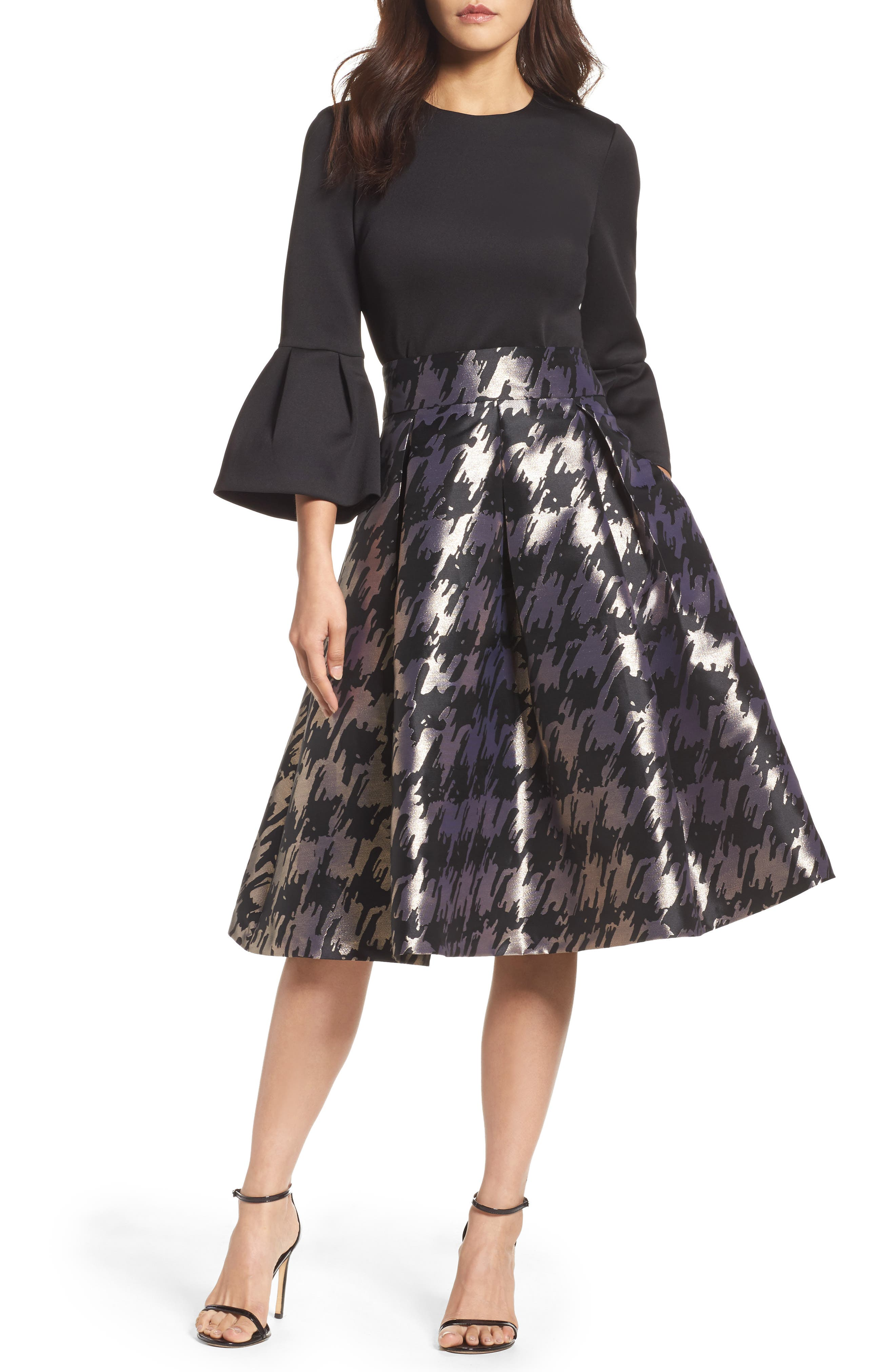 Metallic Jacquard Midi Skirt,                         Main,                         color, Black/ Gold
