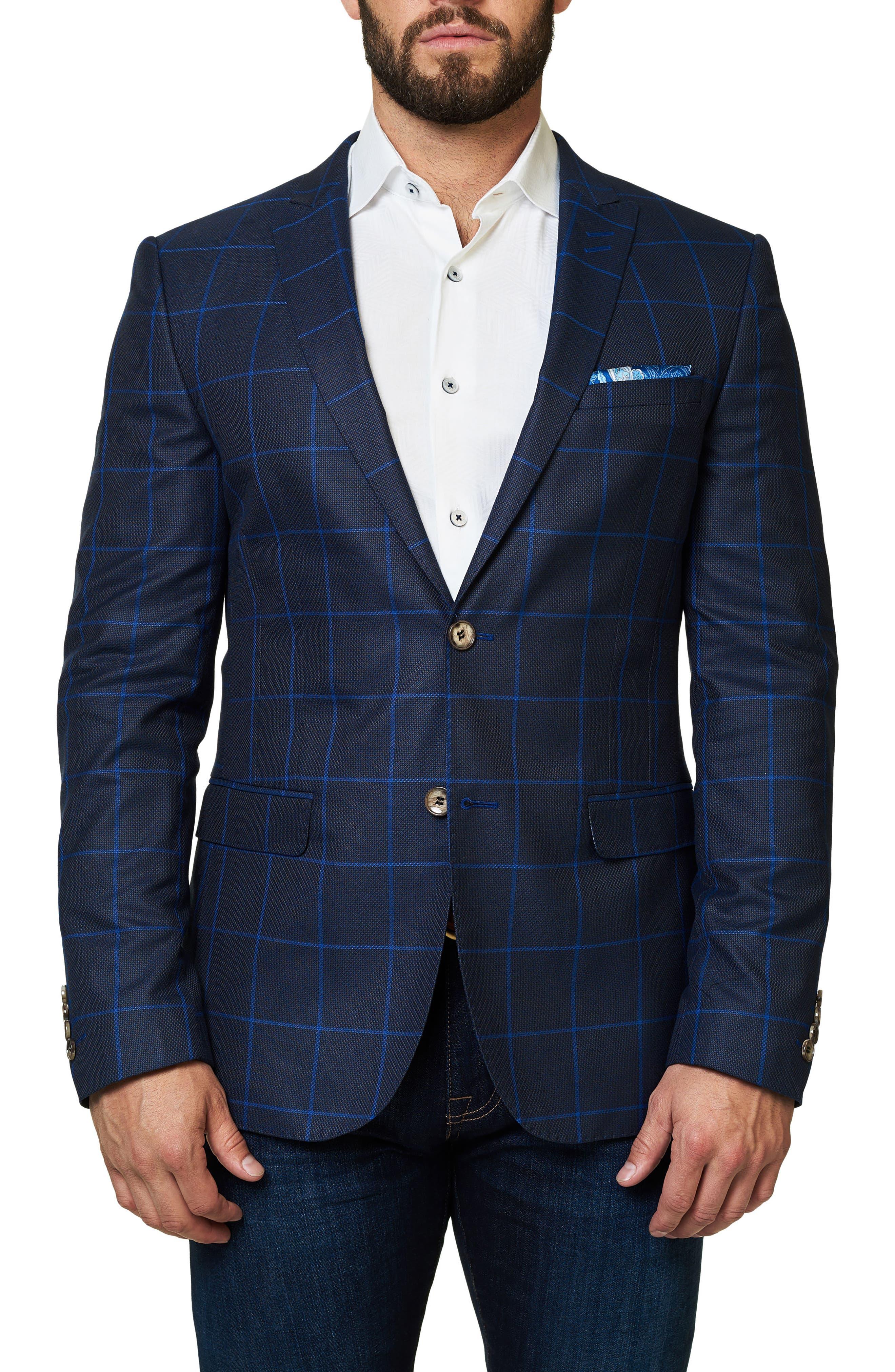 Descarte Windowpane Sport Coat,                         Main,                         color, Medium Blue