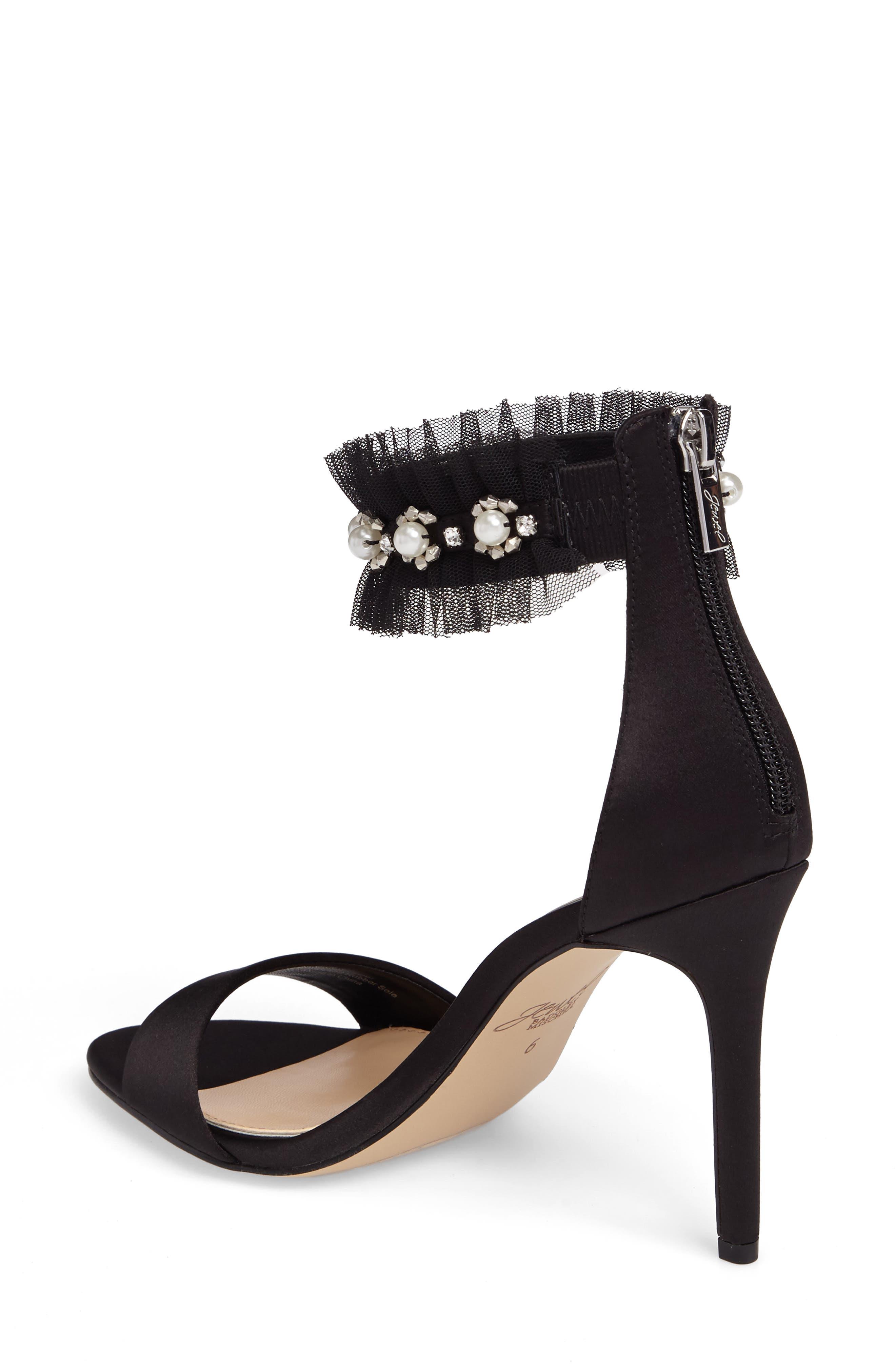 Abagail Embellished Ankle Strap Sandal,                             Alternate thumbnail 2, color,                             Black Satin