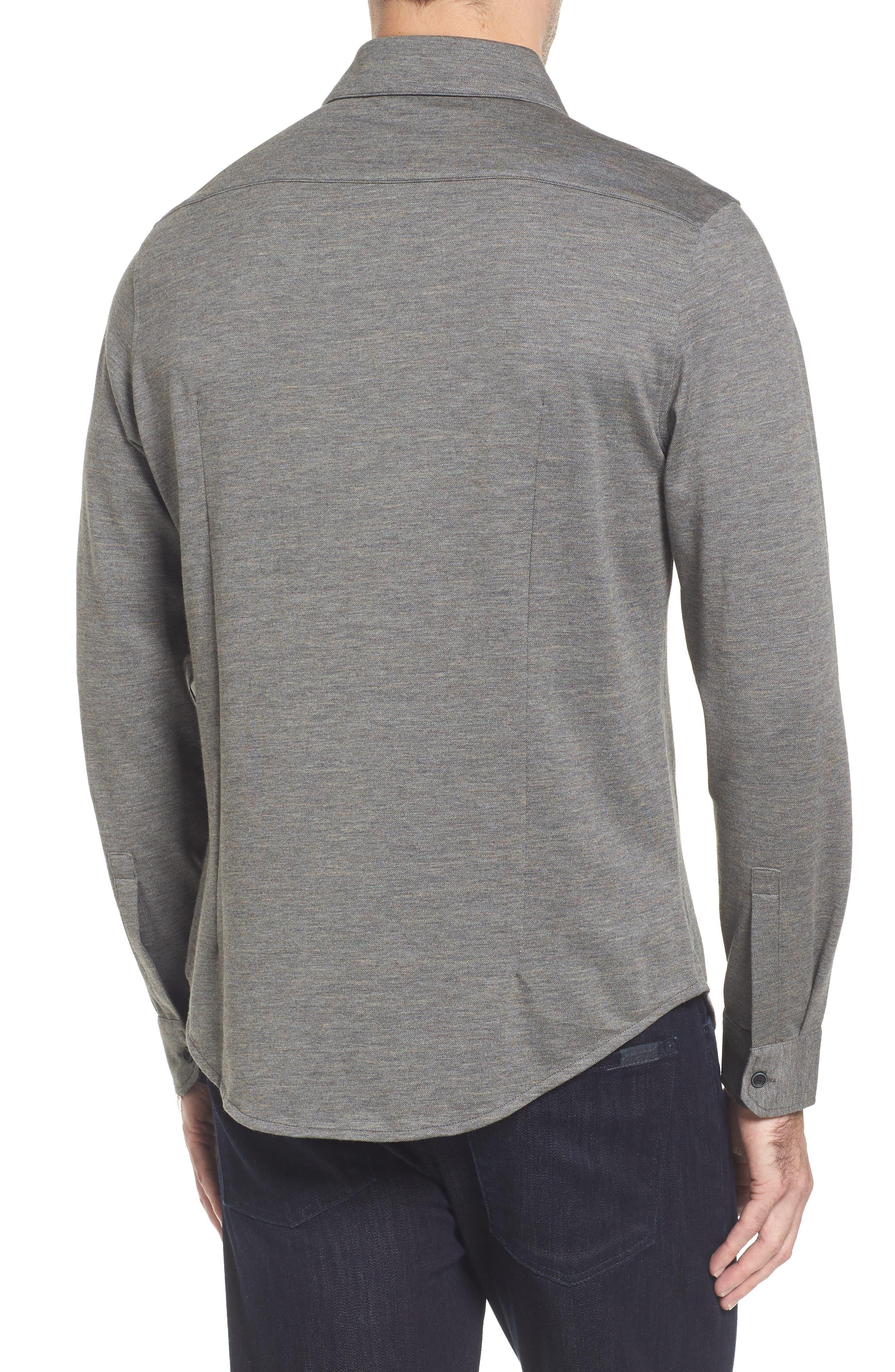 Regular Fit Piqué Knit Sport Shirt,                             Alternate thumbnail 2, color,                             Graphite