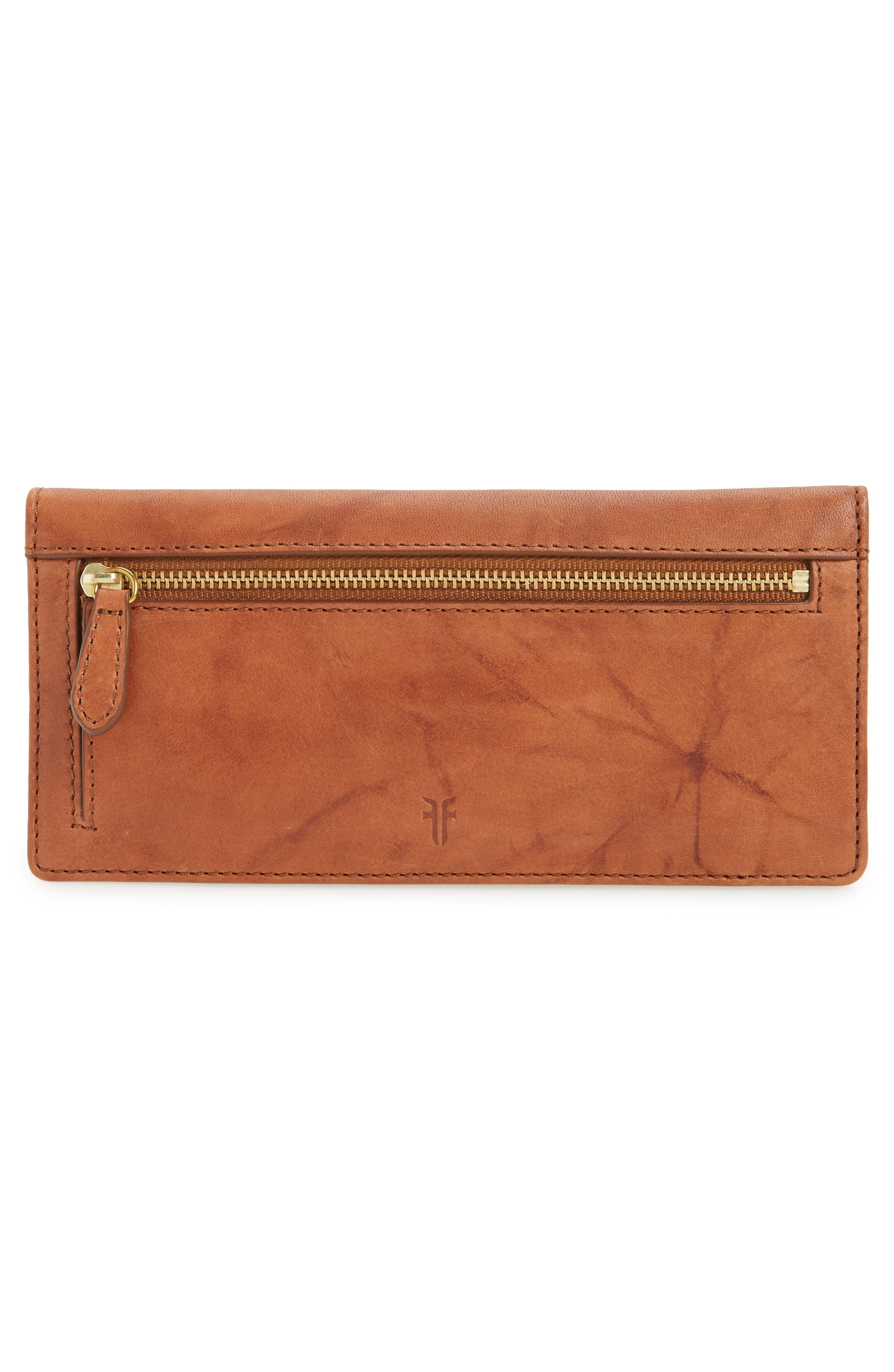 Campus Rivet Slim Leather Wallet,                             Alternate thumbnail 4, color,                             Saddle