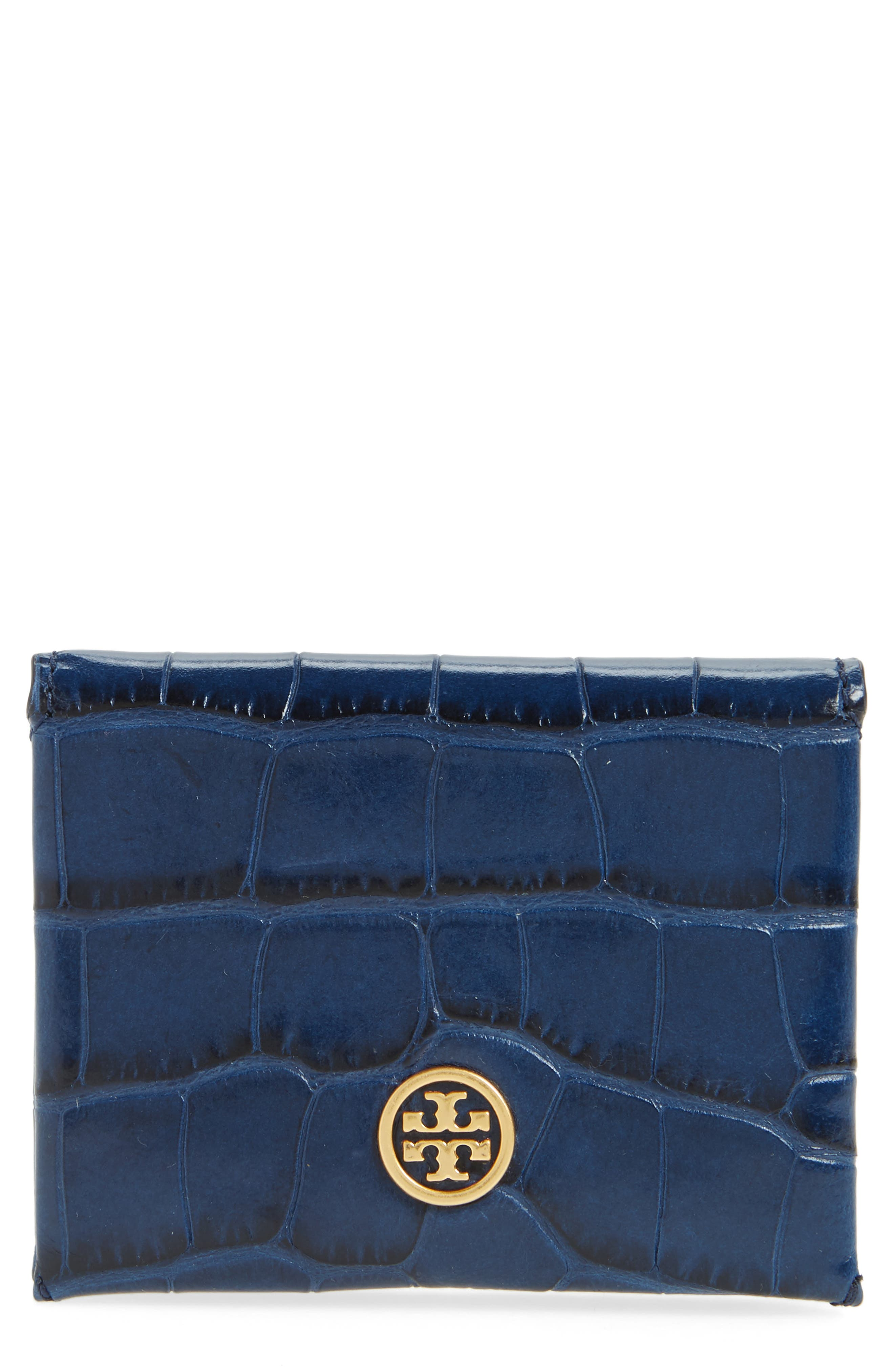 Parker Croc Embossed Leather Card Case,                         Main,                         color, Tory Navy Croc