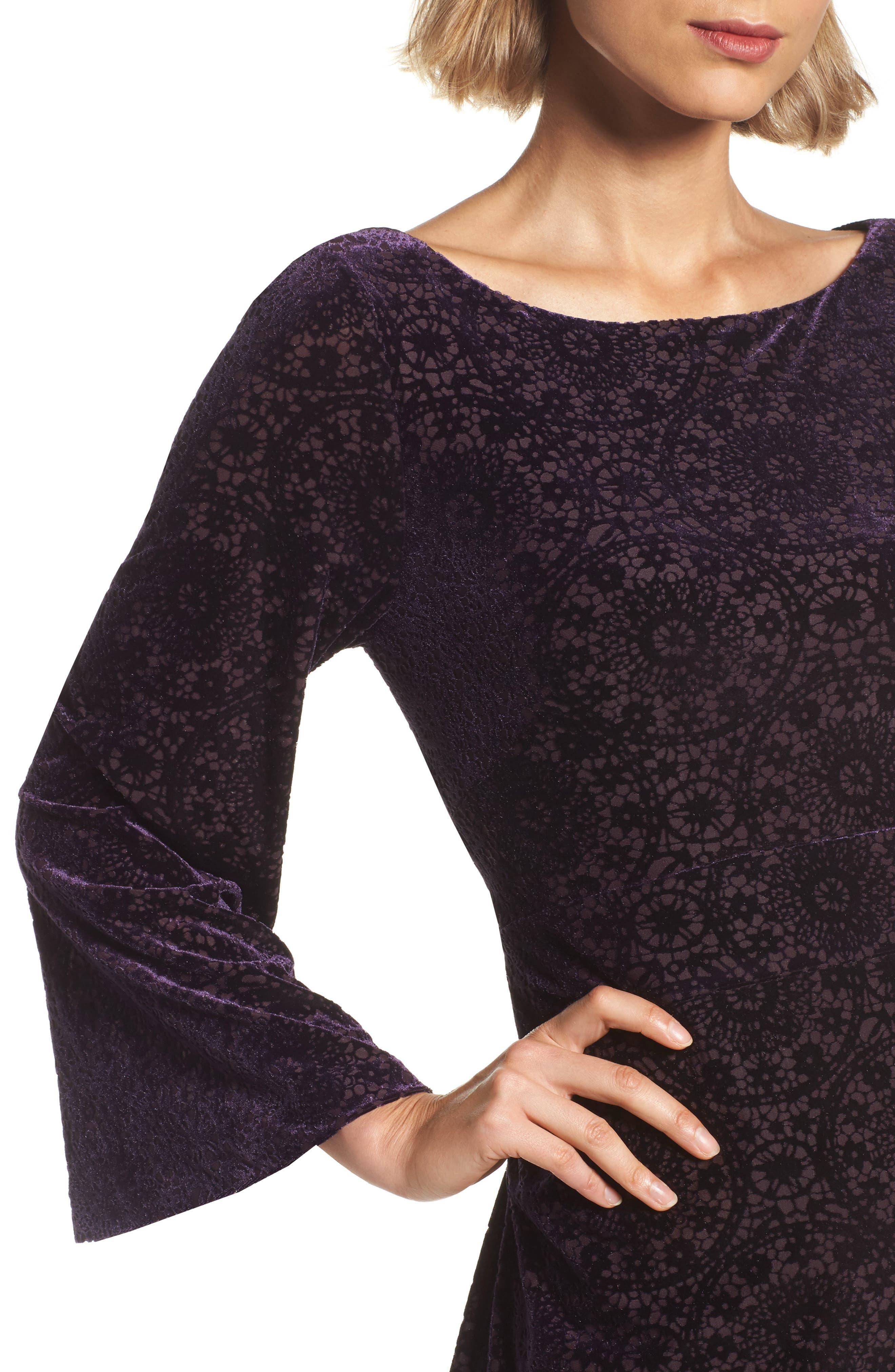 Alternate Image 4  - Adrianna Papell Velvet Burnout Bell Sleeve Dress