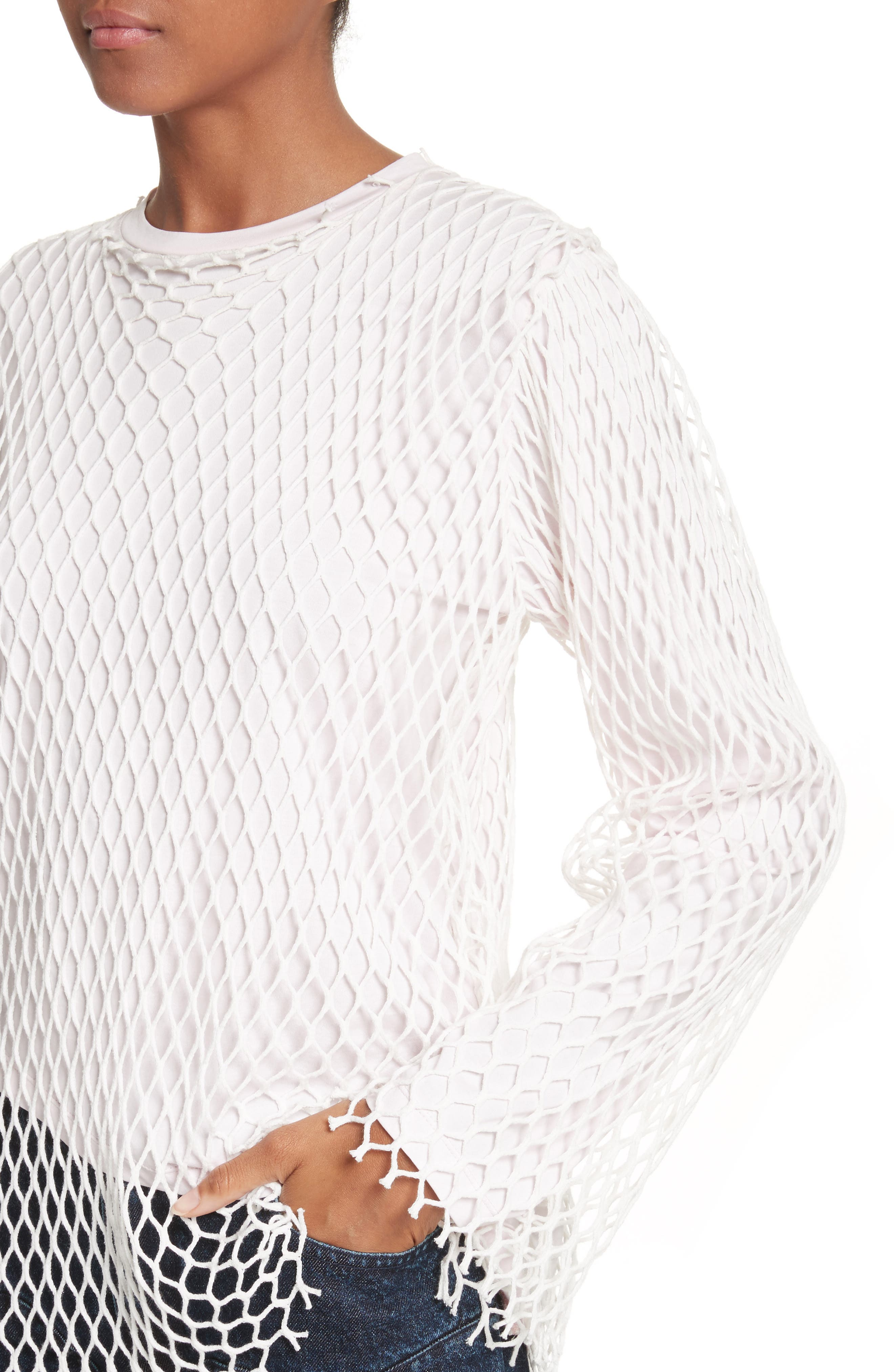Marques'Almeida Net Jersey Top,                             Alternate thumbnail 4, color,                             Pale Pink