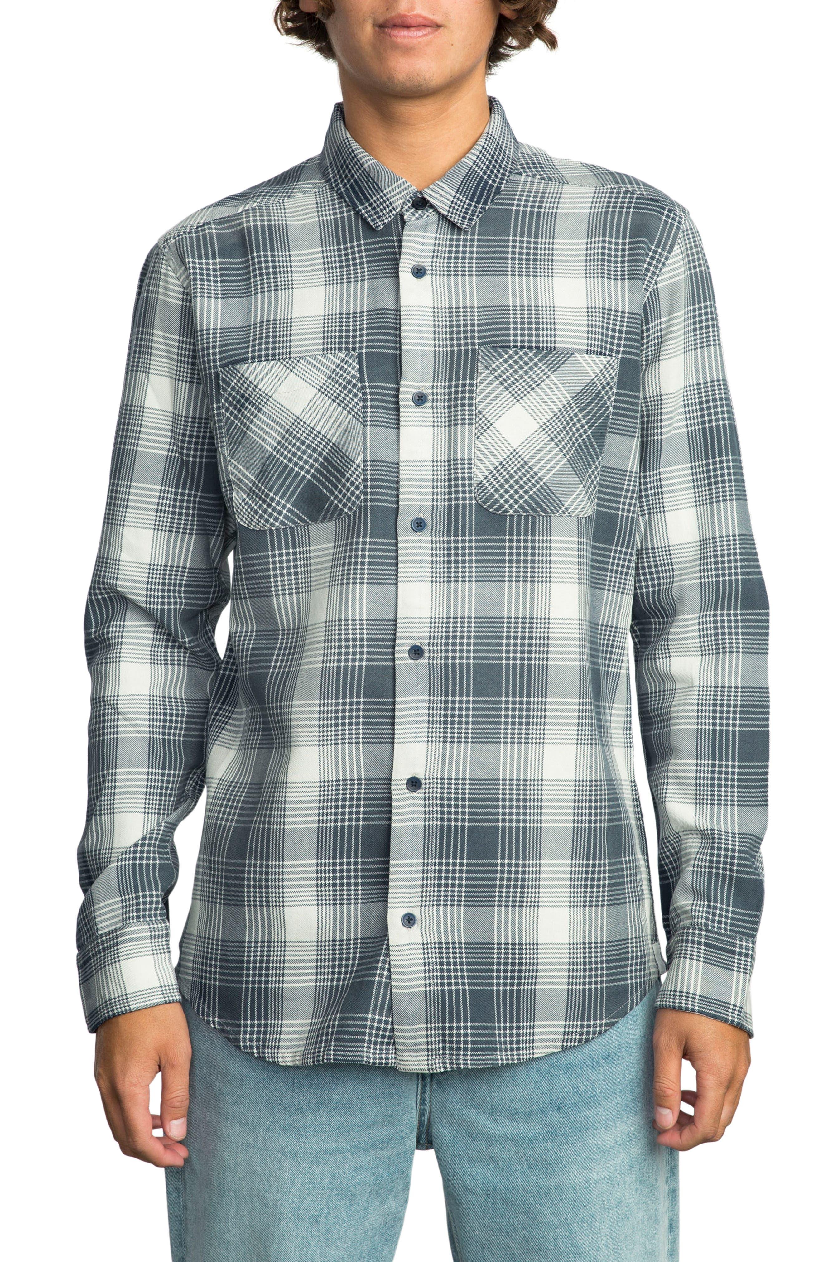 Plaid Woven Shirt,                         Main,                         color, Silver Bleach