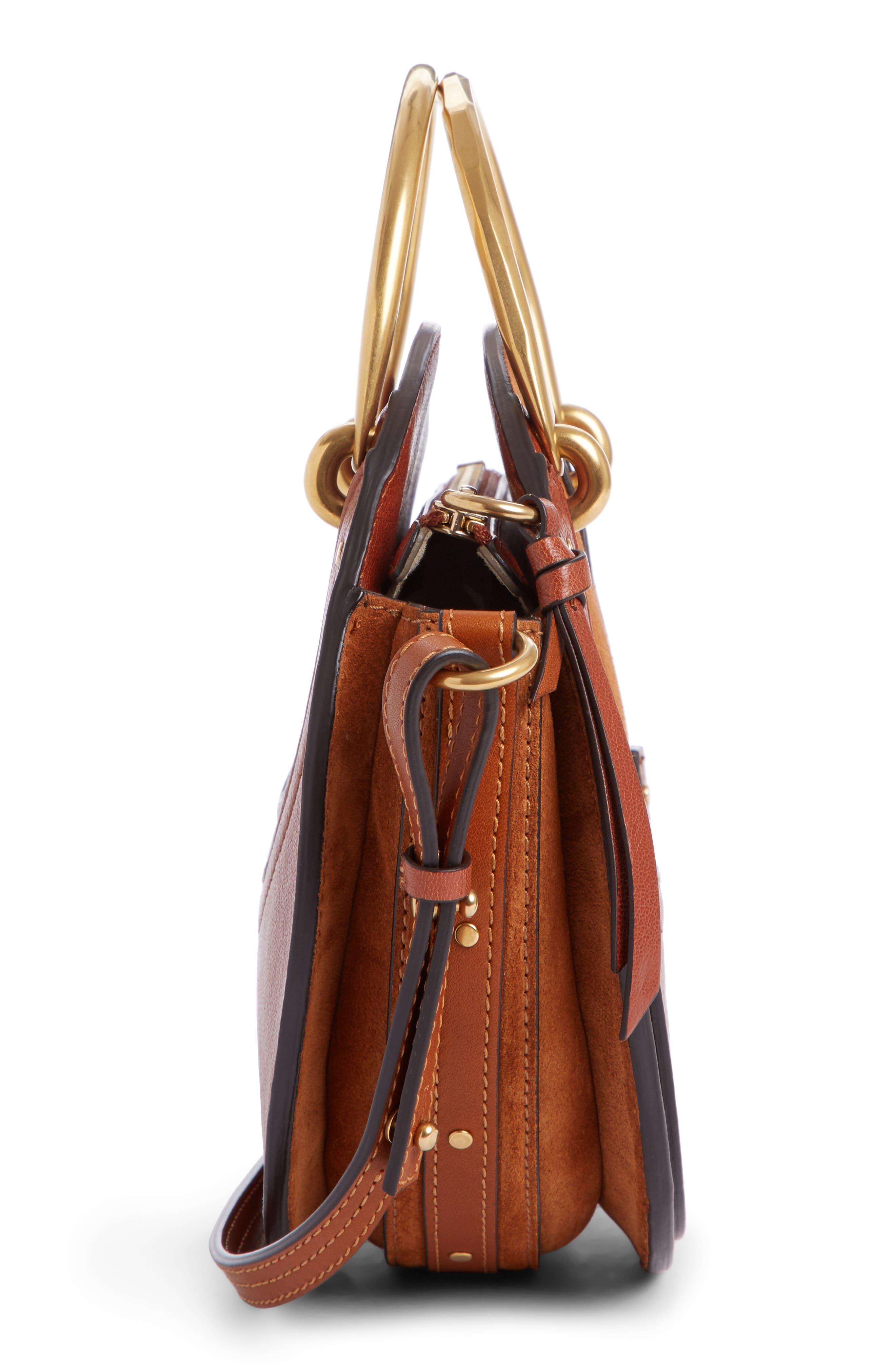 Pixie Leather Crossbody Bag,                             Alternate thumbnail 3, color,                             Saffron Red
