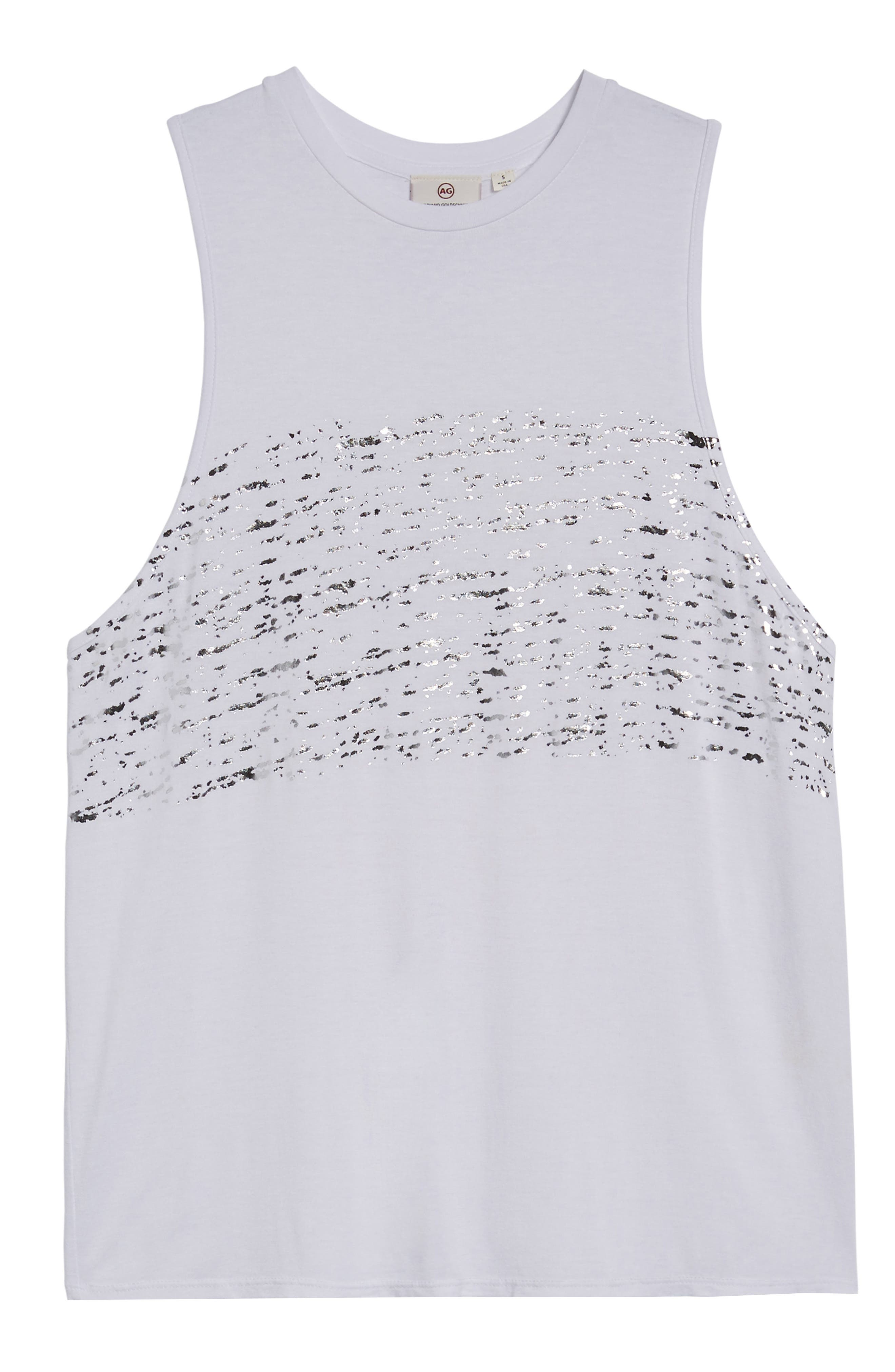 Clio Tank,                             Alternate thumbnail 6, color,                             Distressed Silver Foil/ White