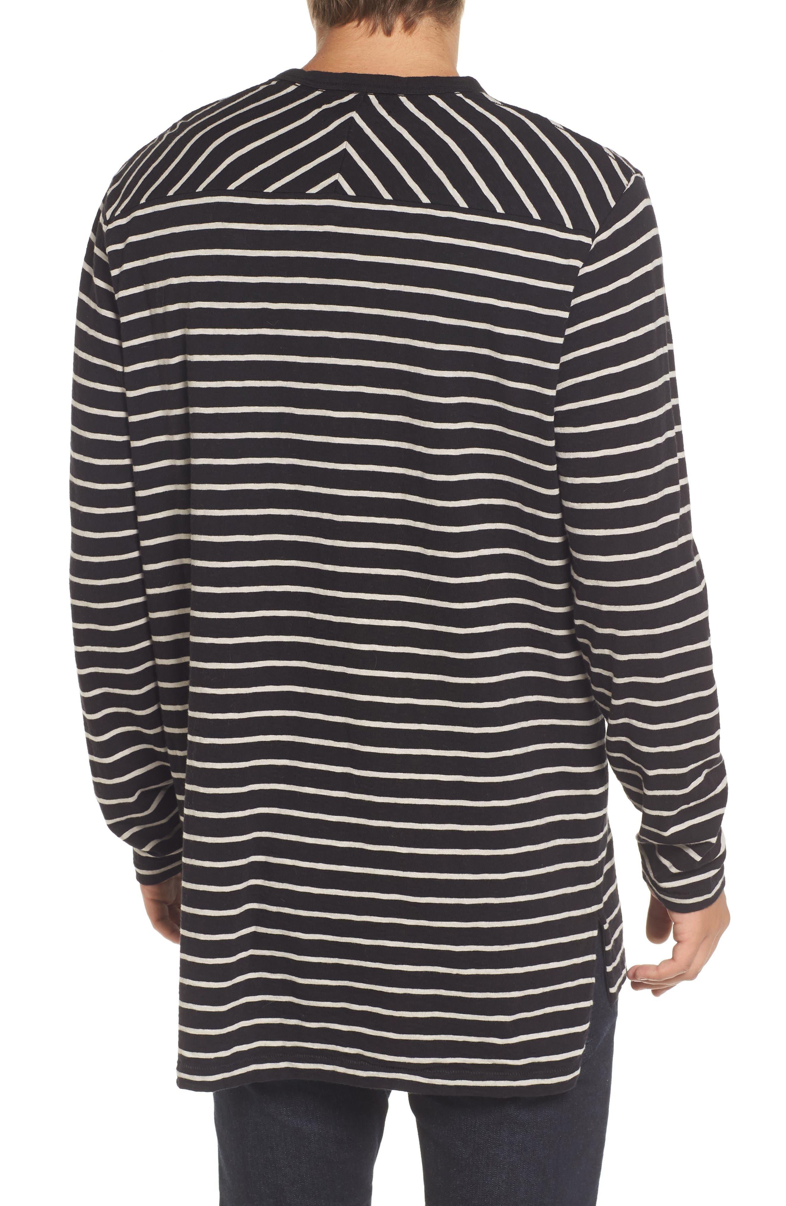 Stripe Longline T-Shirt,                             Alternate thumbnail 2, color,                             Black/ Clay