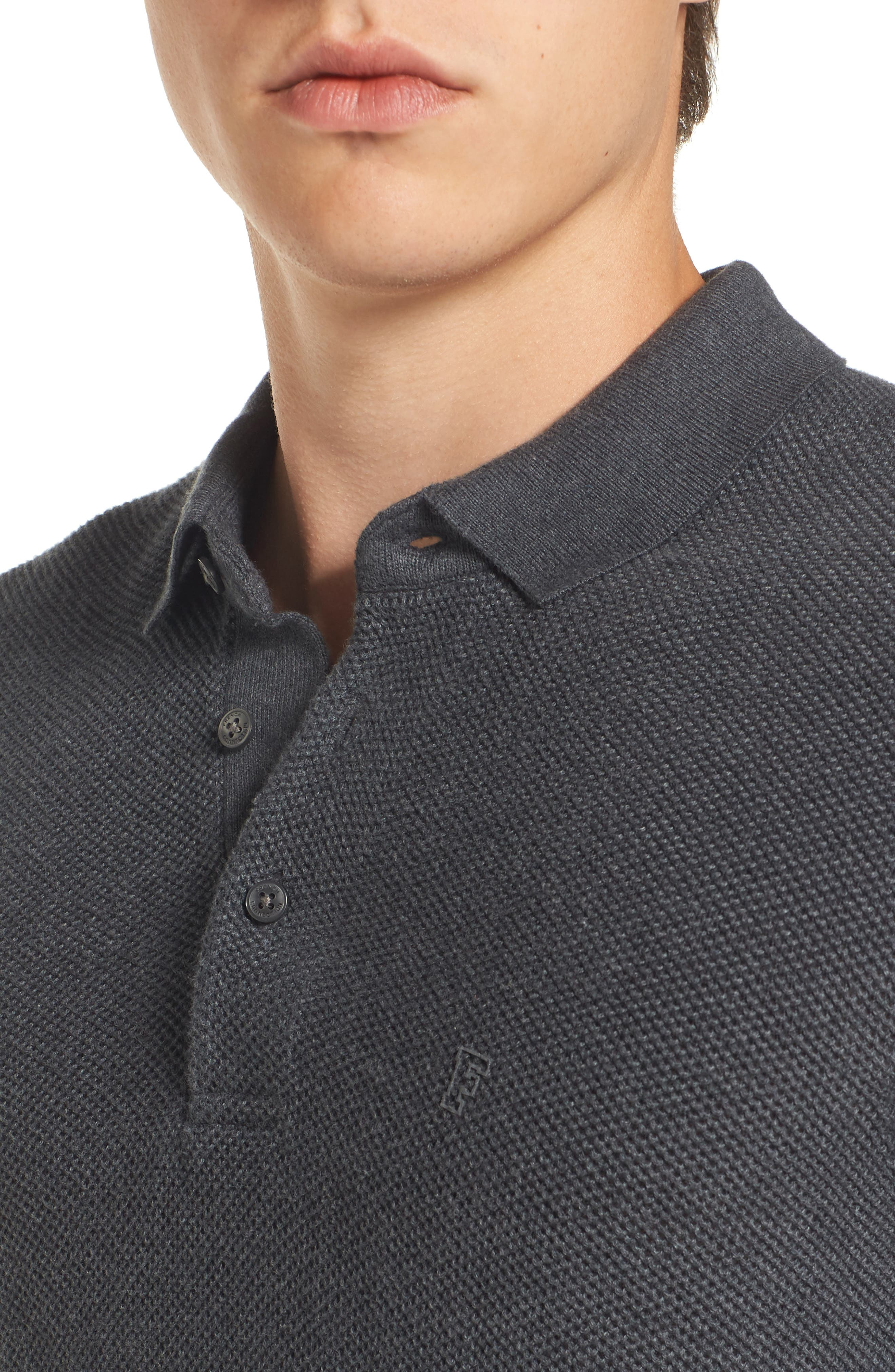 Alternate Image 4  - French Connection Textured Long Sleeve Polo