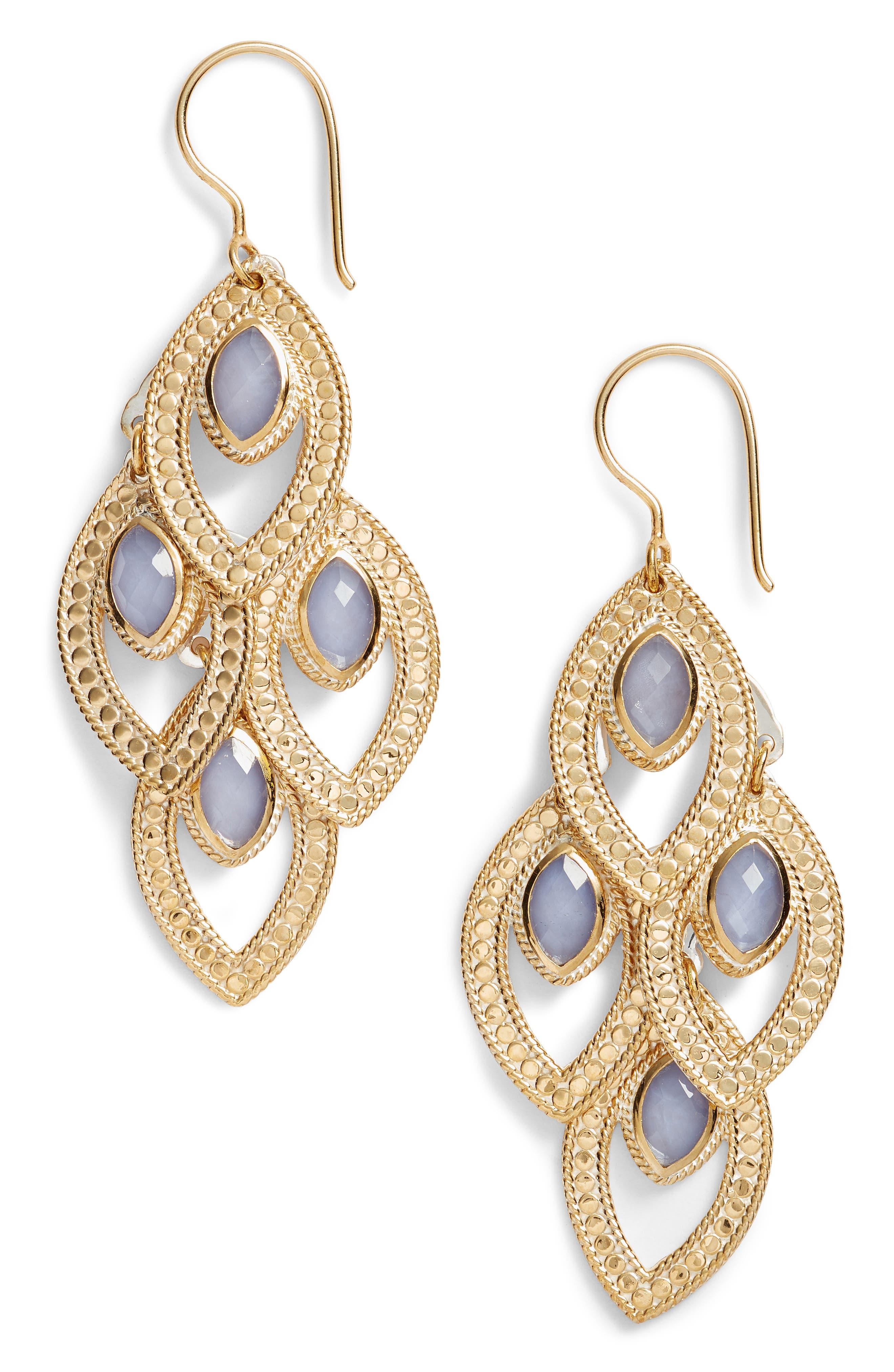 Chandelier Earrings,                             Main thumbnail 1, color,                             Gold/ Blue Chalcedony