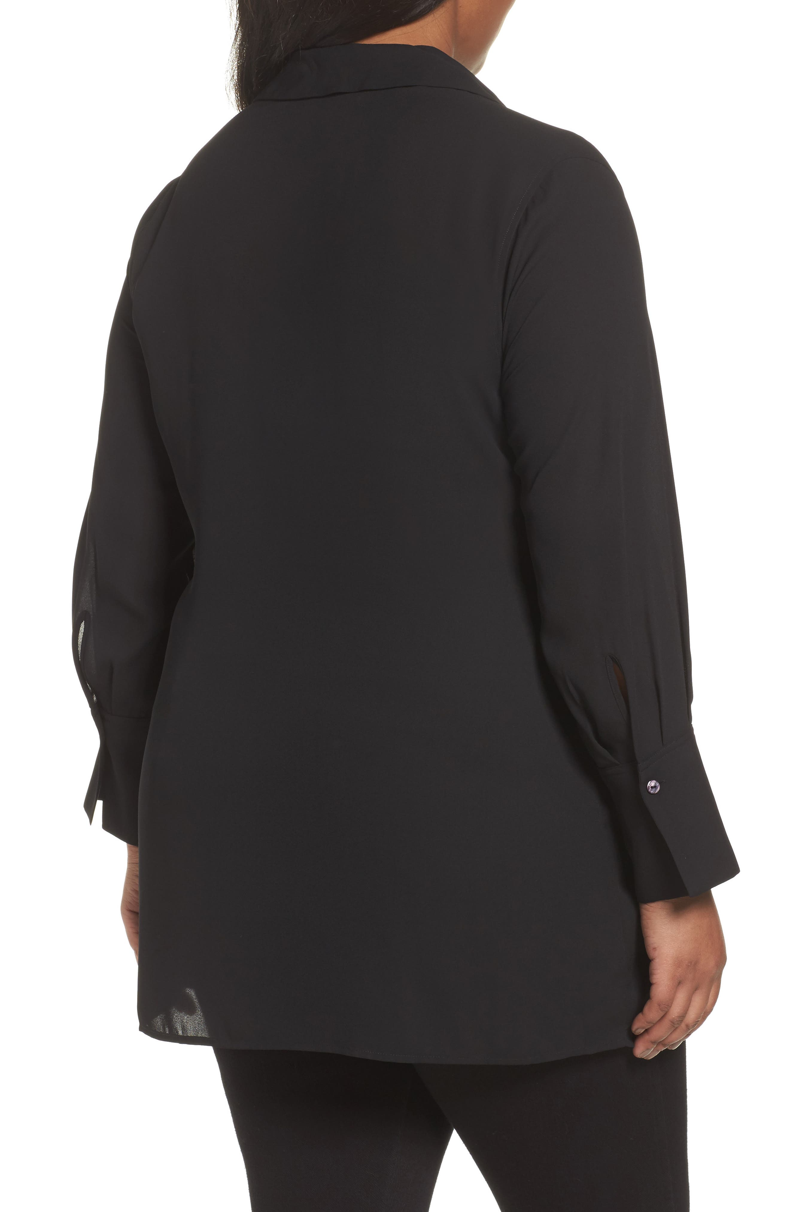 Alternate Image 2  - Foxcroft Serena Knotted Crepe Tunic Blouse (Plus Size)