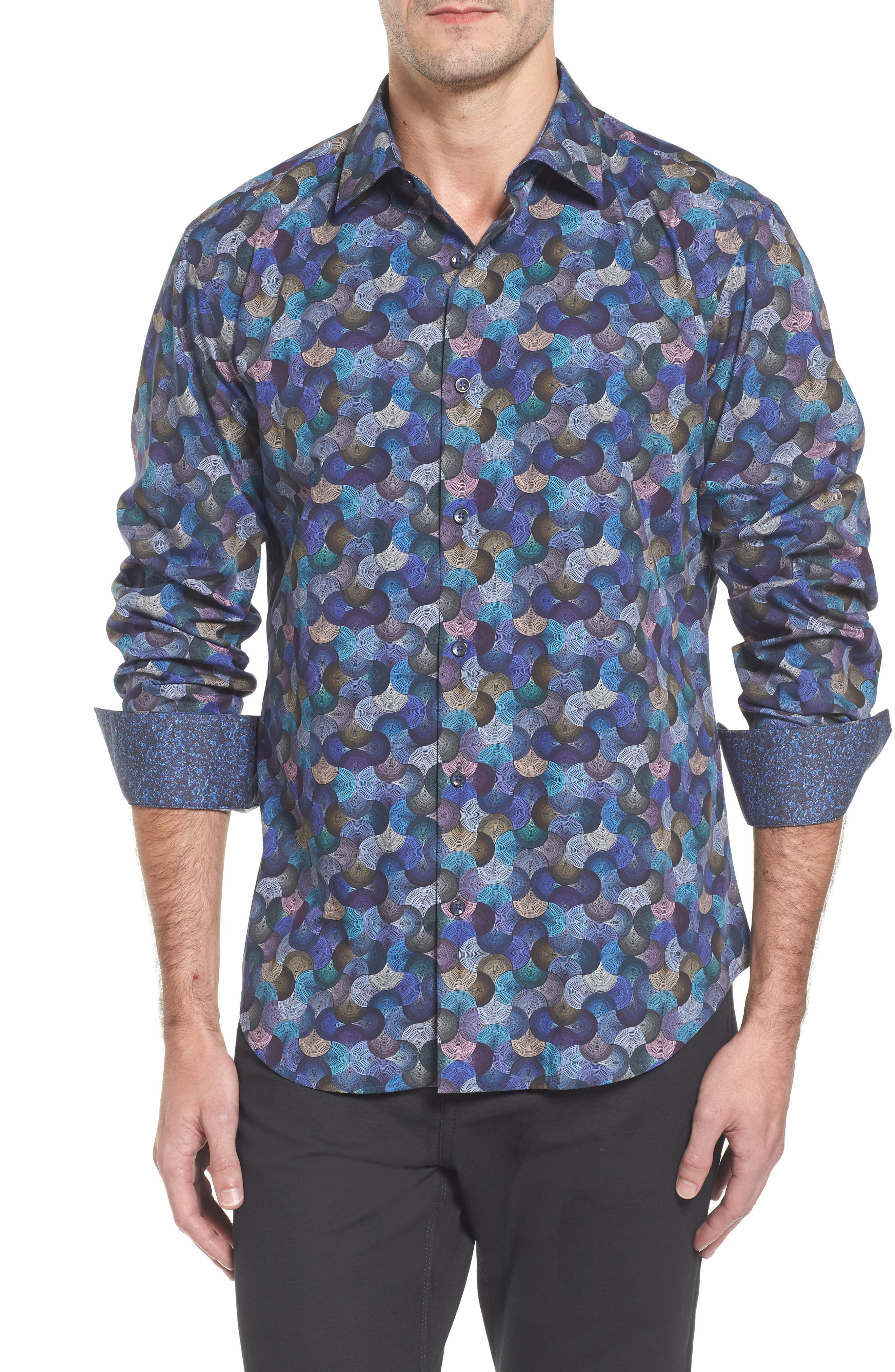 Slim Fit Swirl Print Sport Shirt,                         Main,                         color, Steel