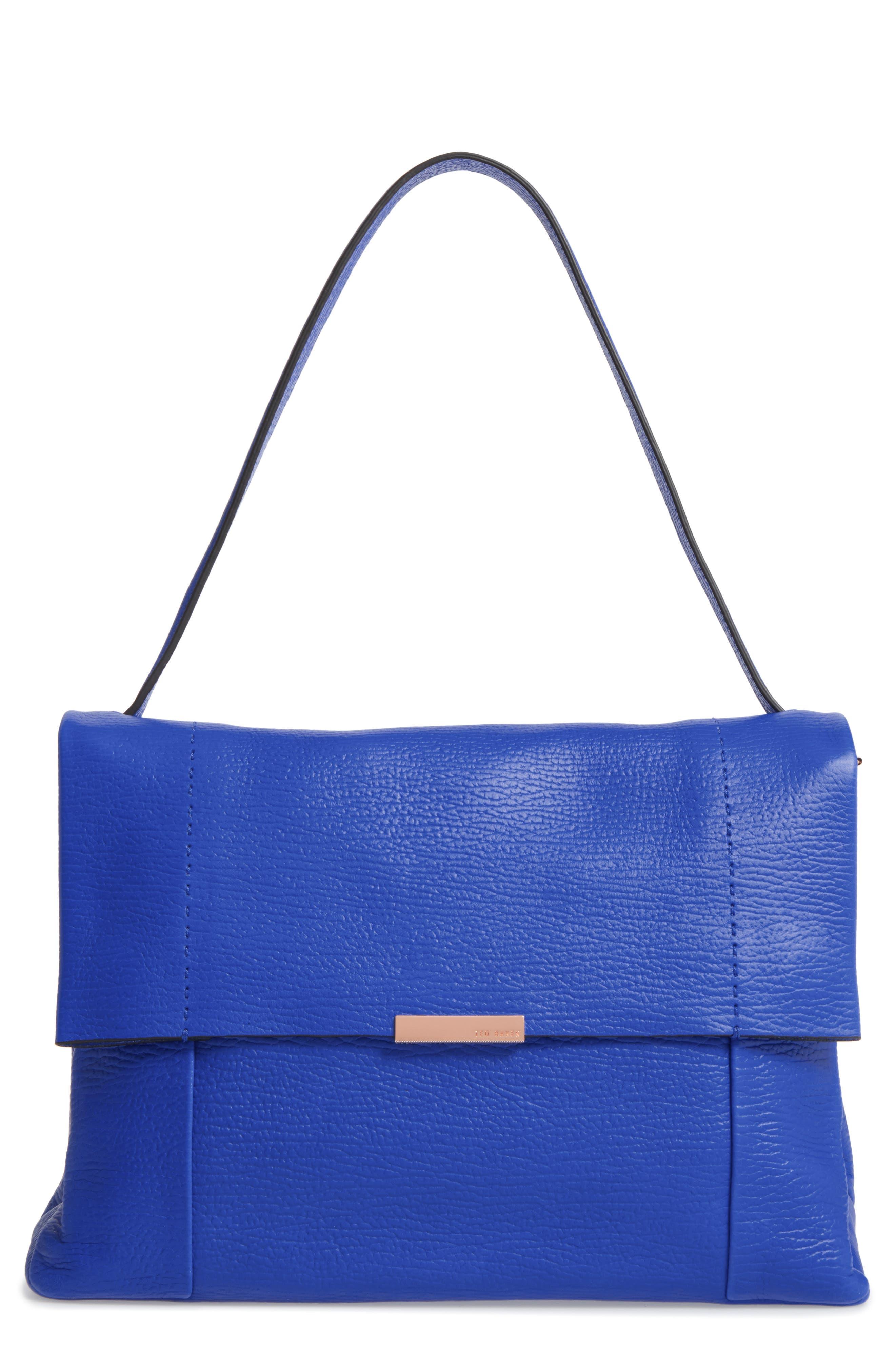 Proter Leather Shoulder Bag,                             Main thumbnail 1, color,                             Bright Blue