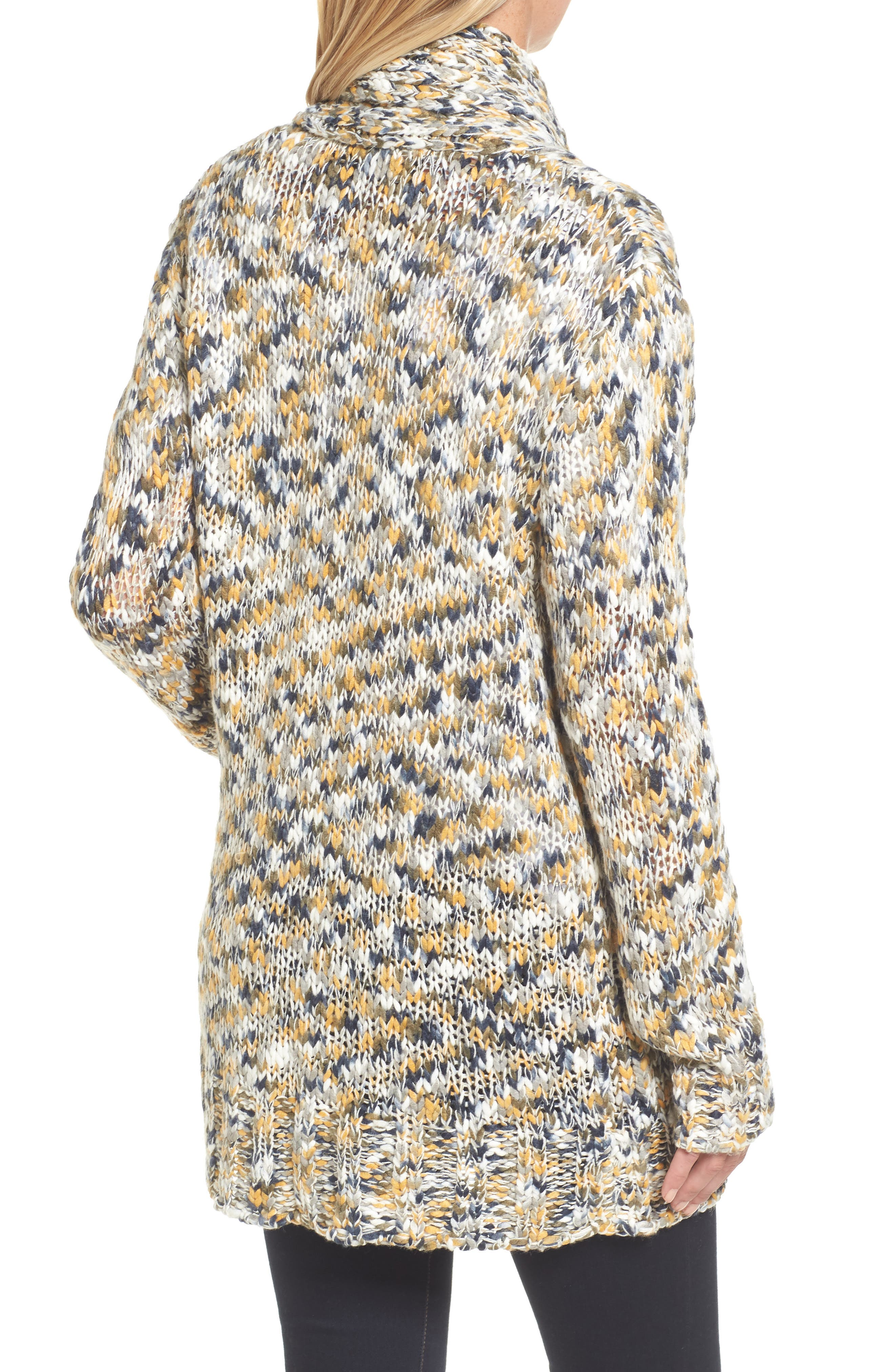 Confetti Knit Shawl Collar Sweater,                             Alternate thumbnail 4, color,                             Earth Mix