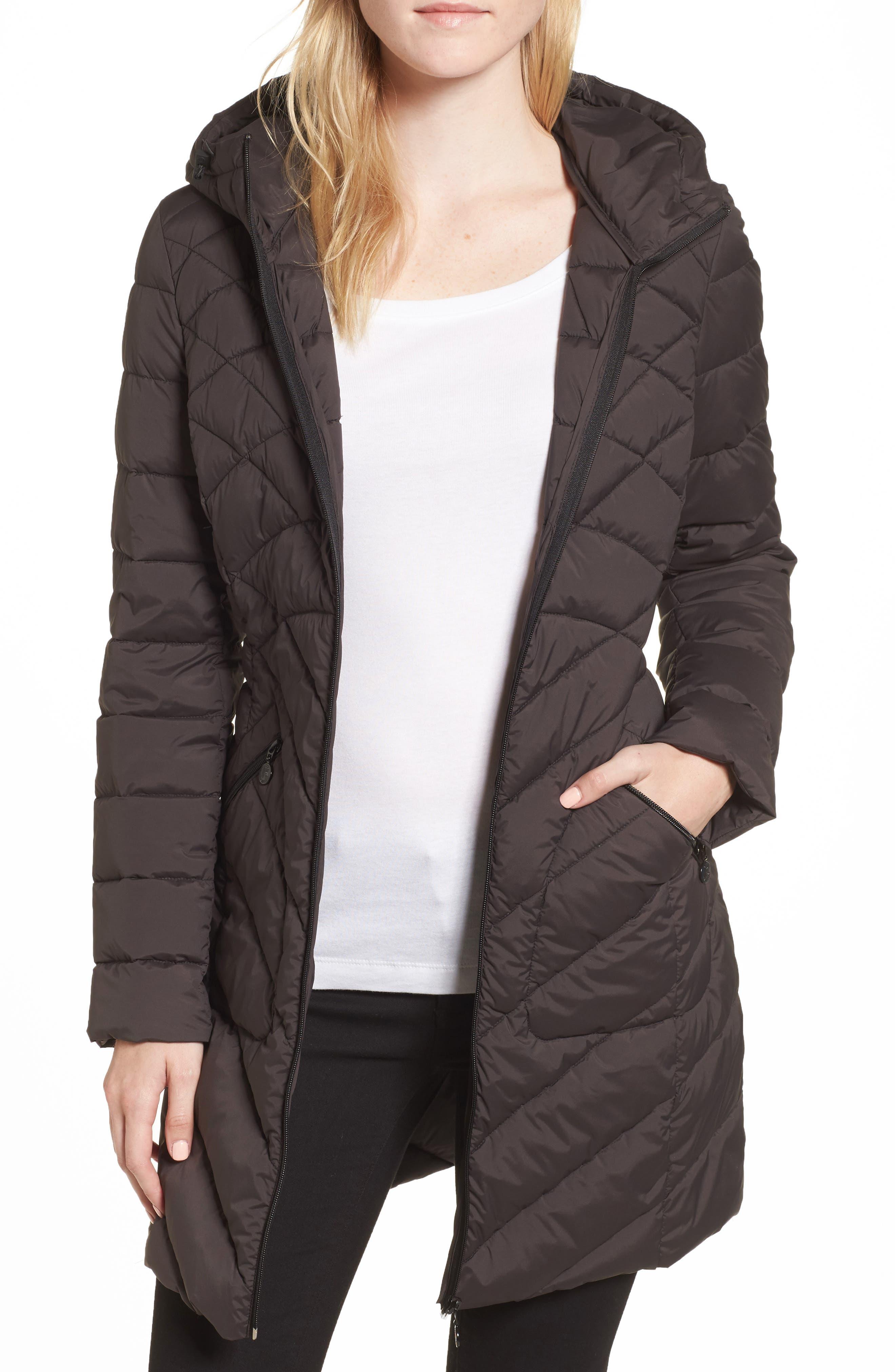 Packable Hooded Down & PrimaLoft<sup>®</sup> Walker Jacket,                         Main,                         color, Black