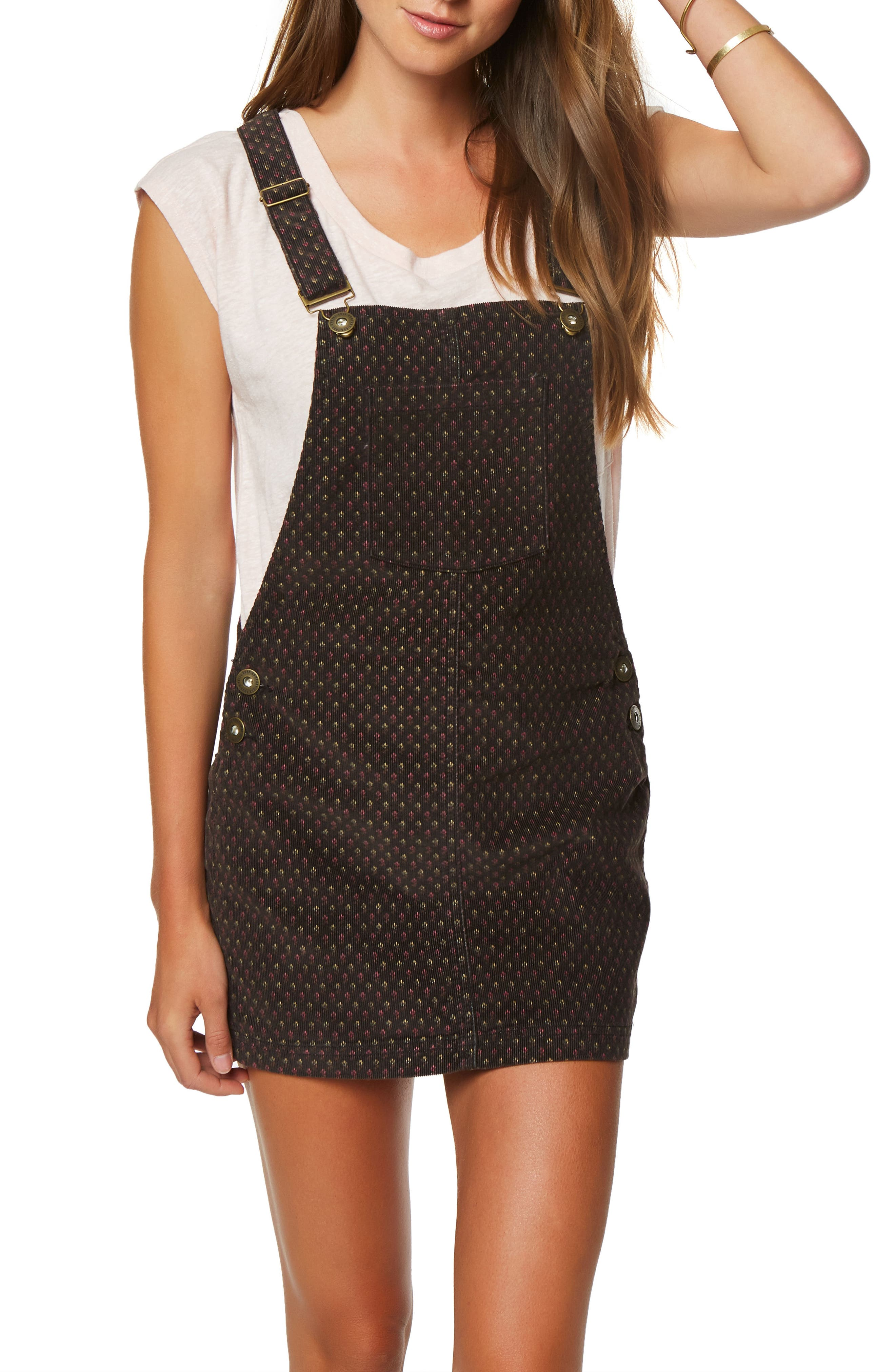 Kipling Print Corduroy Pinafore Dress,                             Main thumbnail 1, color,                             Black