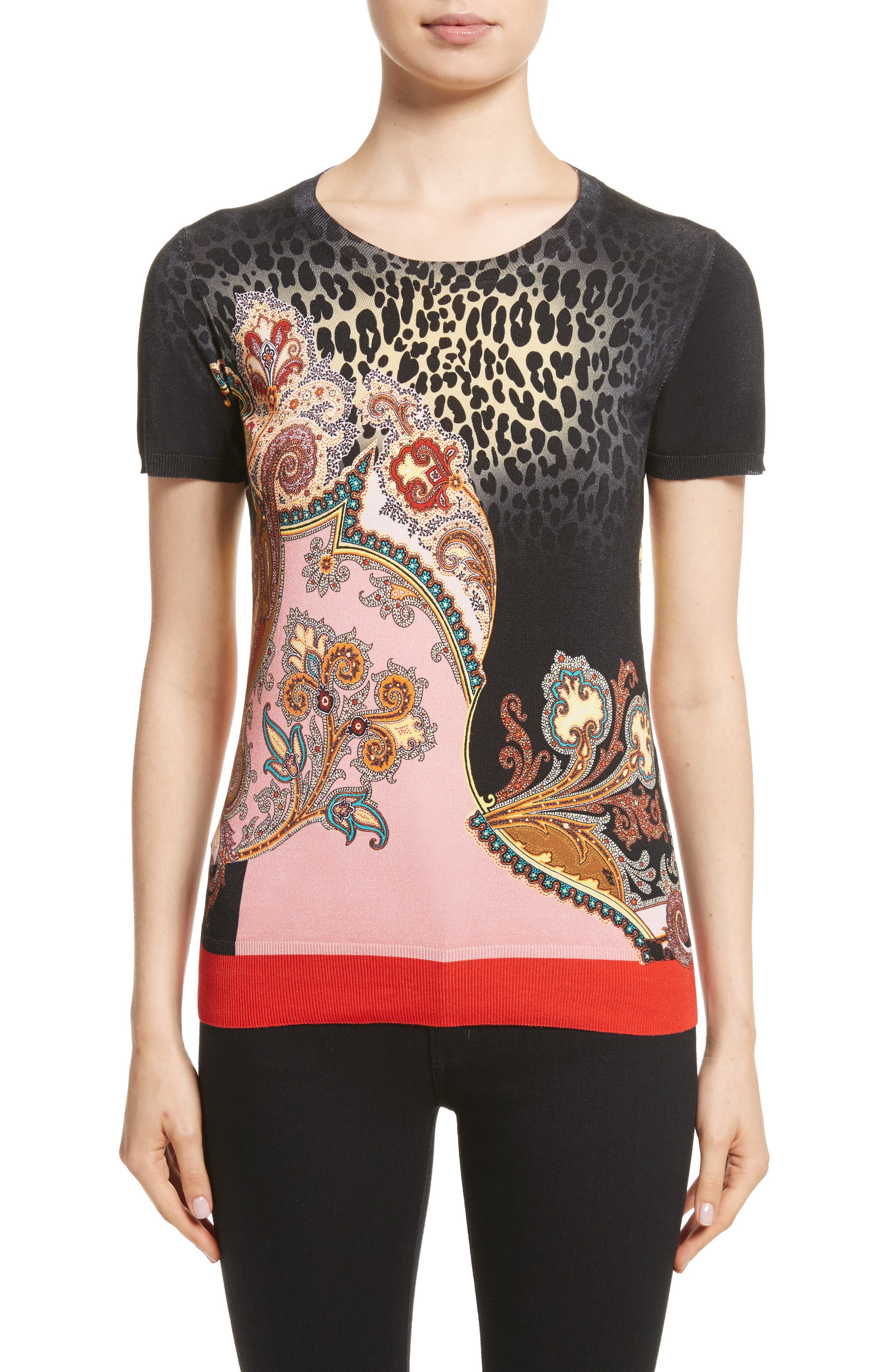 Etro Leopard Paisley Print Stretch Silk Sweater