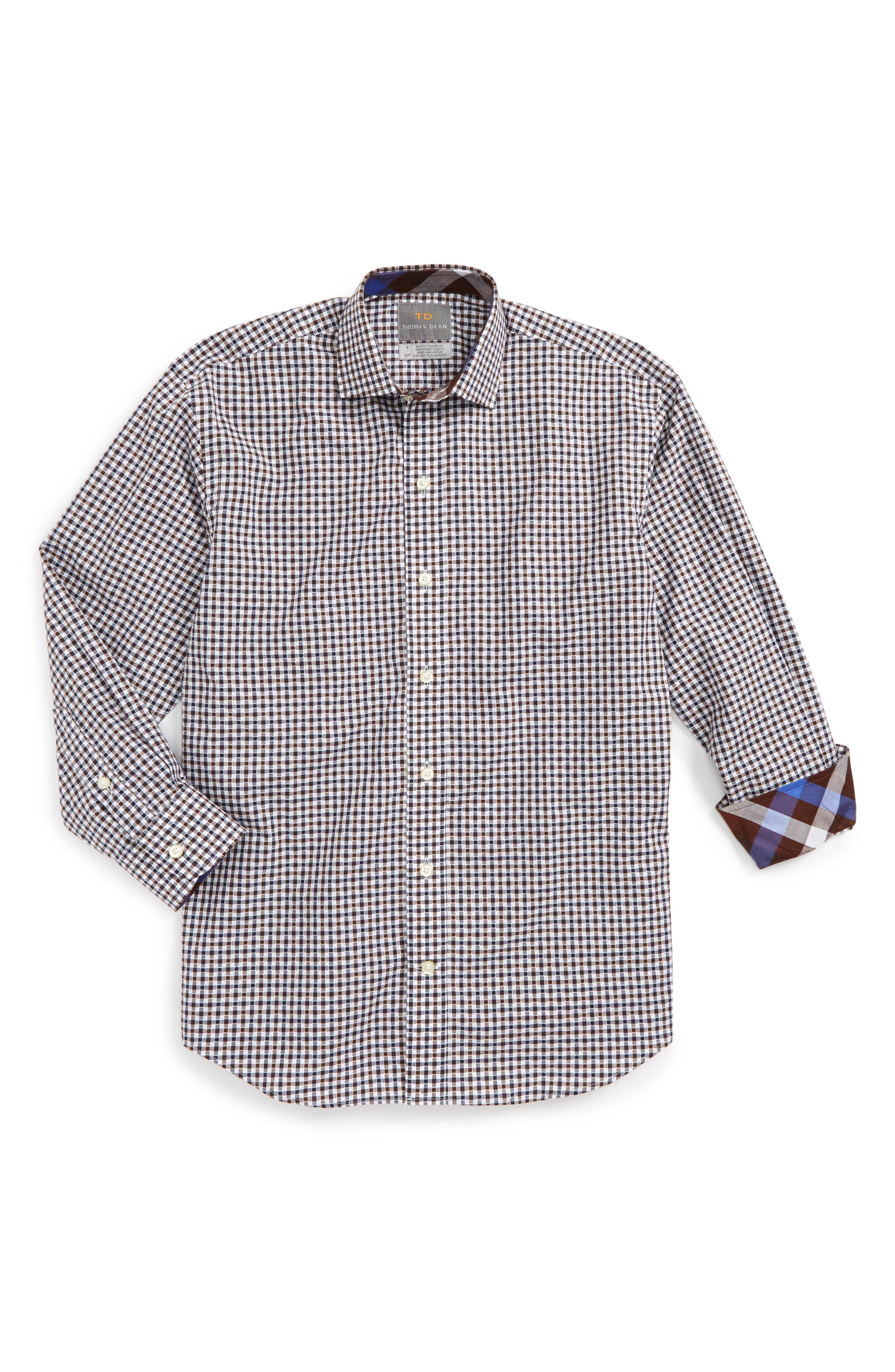 Check Dress Shirt,                         Main,                         color, Brown